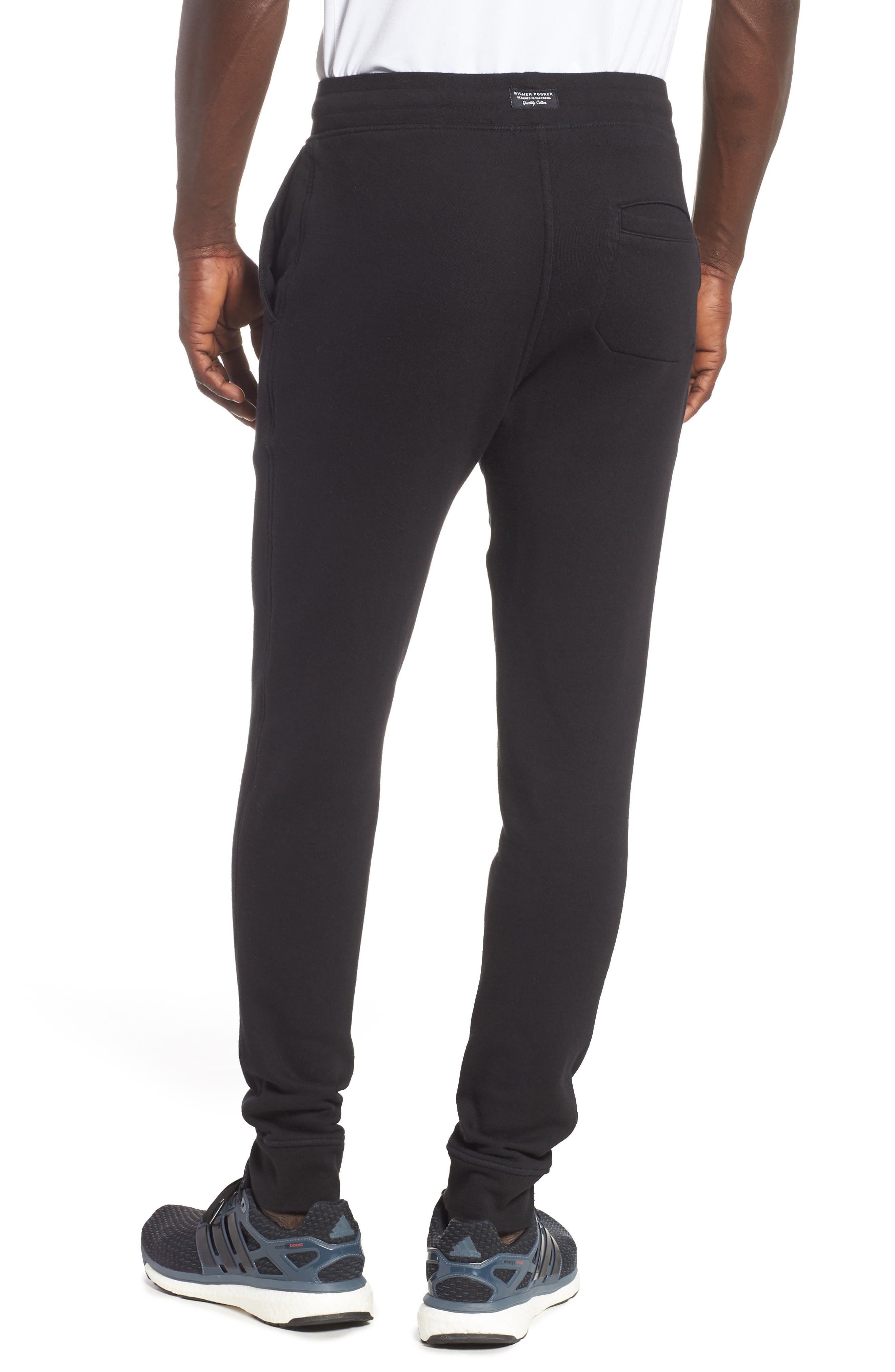 RICHER POORER, Cotton Lounge Pants, Alternate thumbnail 2, color, BLACK