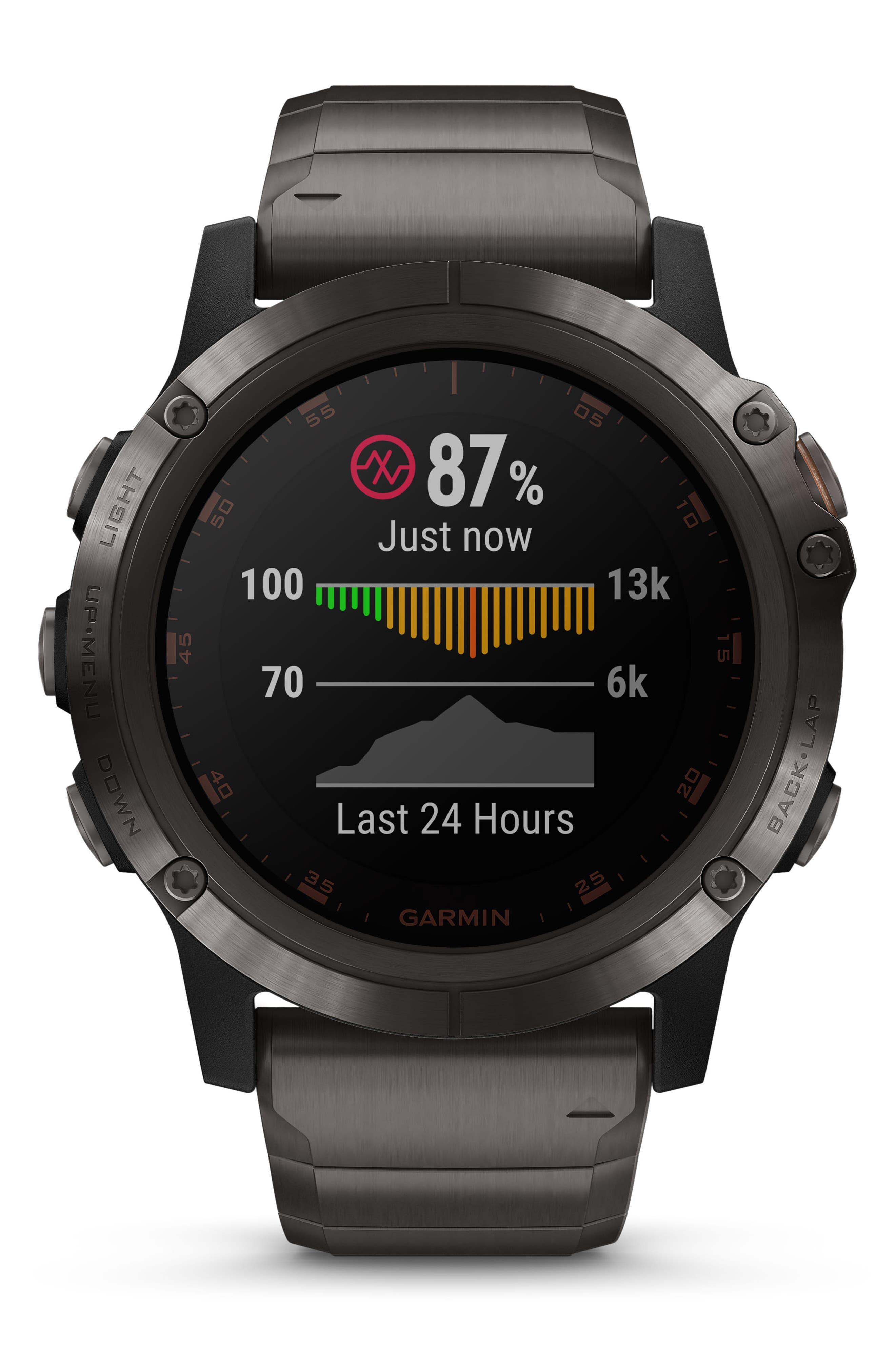 GARMIN, fenix<sup>®</sup> 5X Plus Sapphire Premium Multisport GPS Watch, 51mm, Alternate thumbnail 6, color, CARBON GRAY