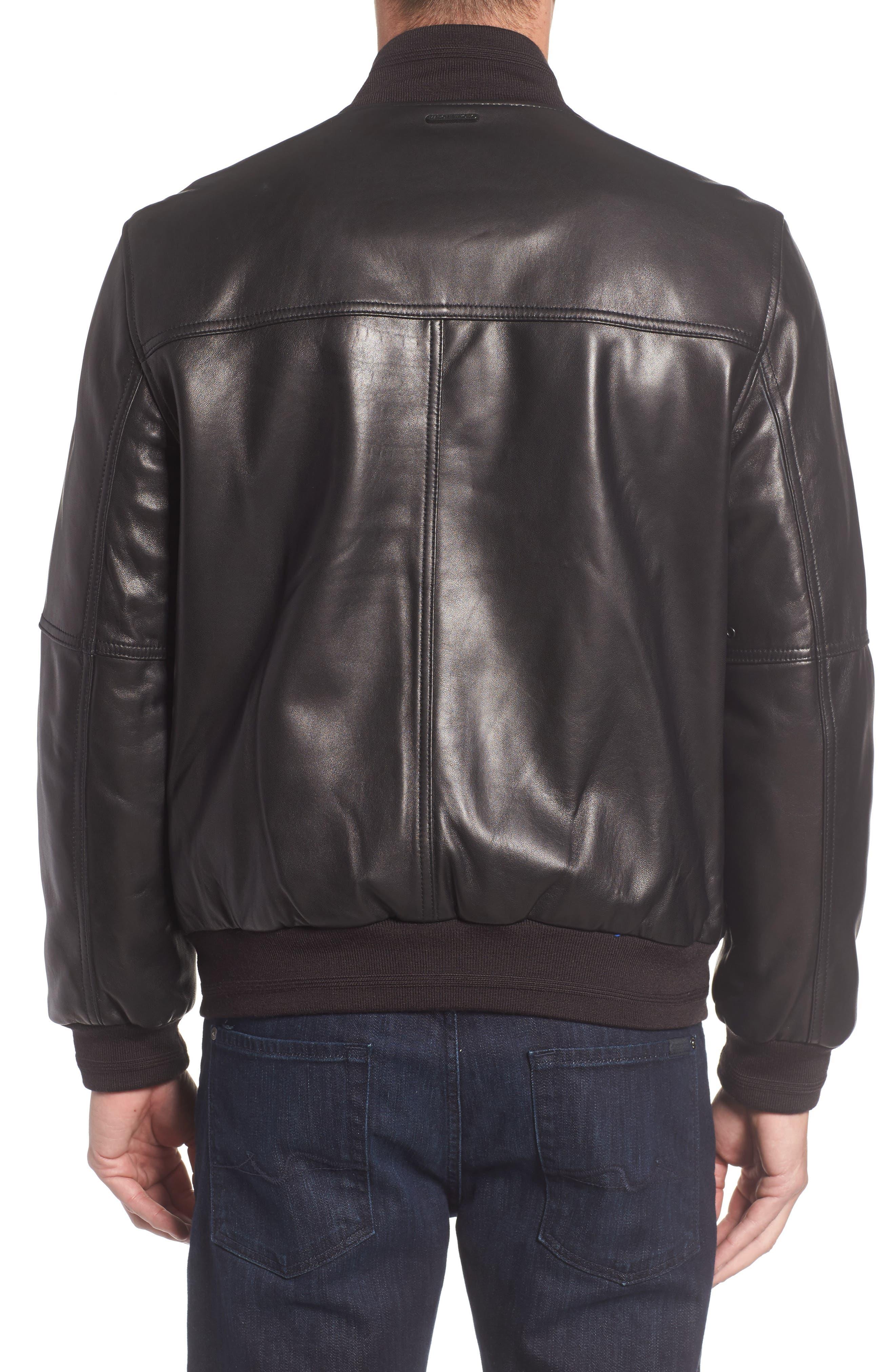MARC NEW YORK, Summit Leather Jacket, Alternate thumbnail 2, color, BLACK