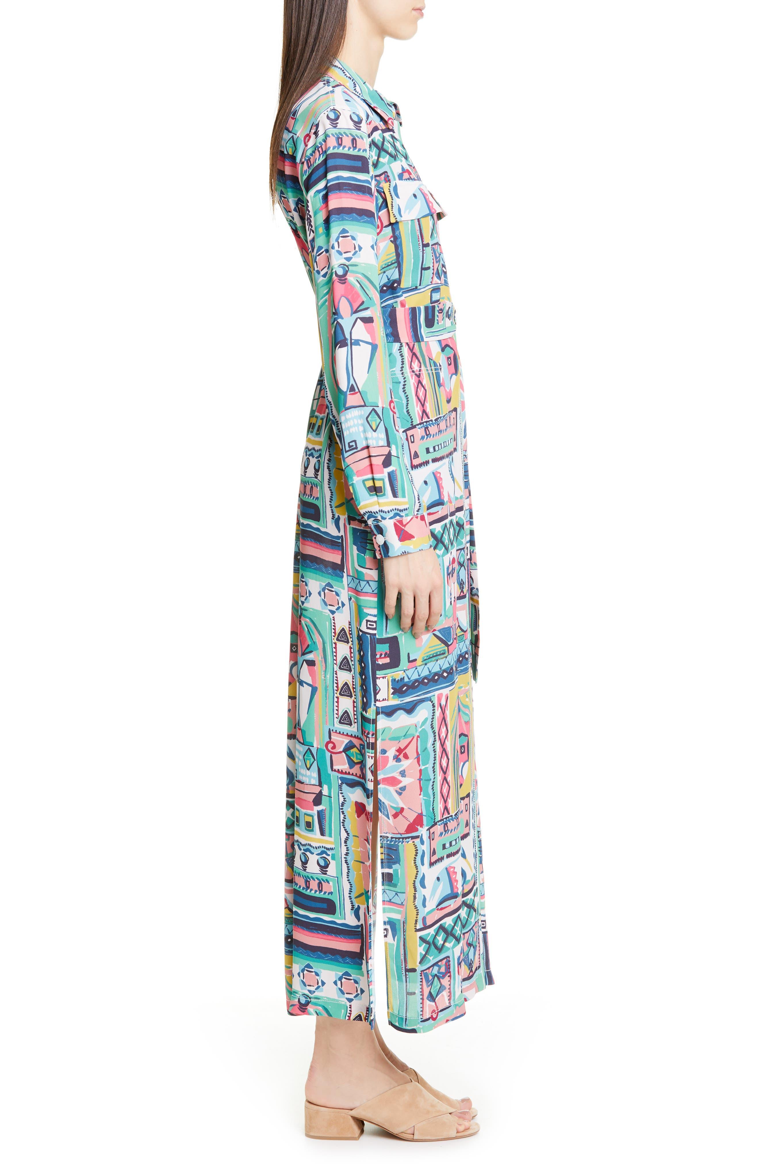 LAFAYETTE 148 NEW YORK, Doha Palazzo Patchwork Print Maxi Shirtdress, Alternate thumbnail 3, color, 400