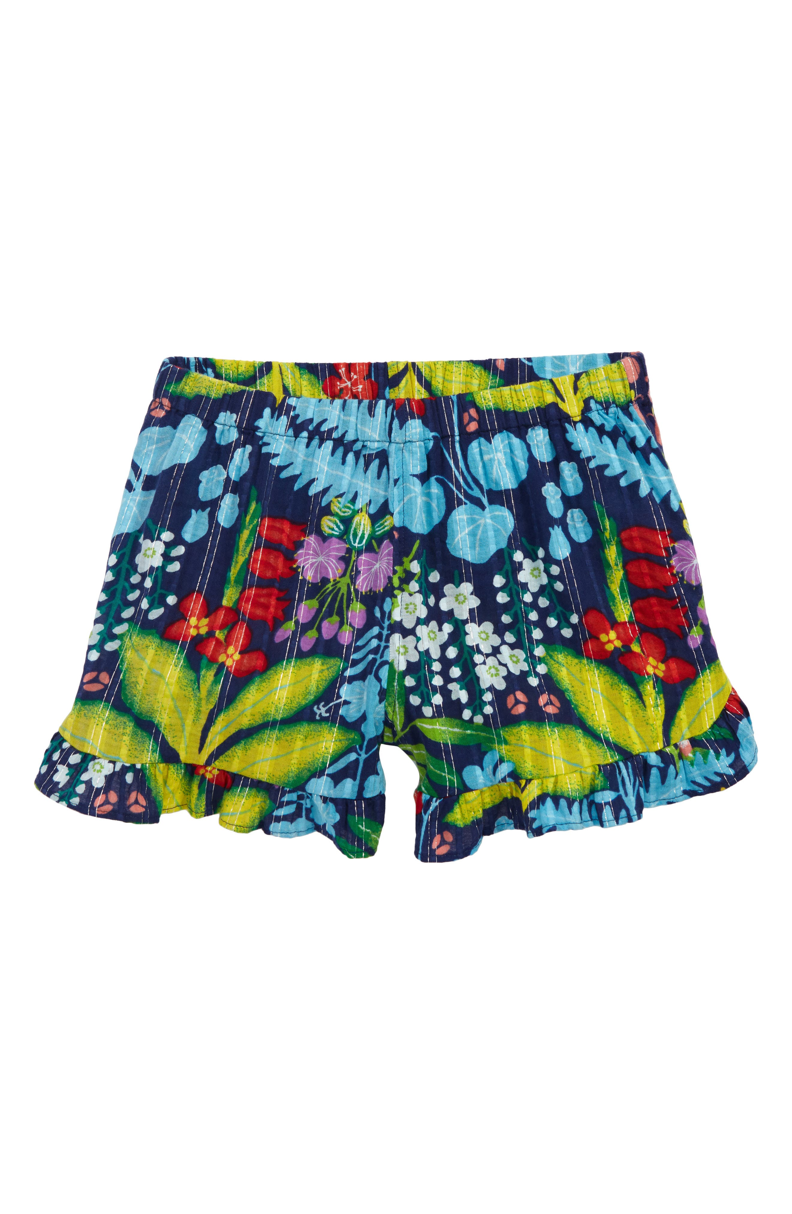 Girls Crewcuts By Jcrew Tropical Floral Ruffle Shorts Size 8  Blue