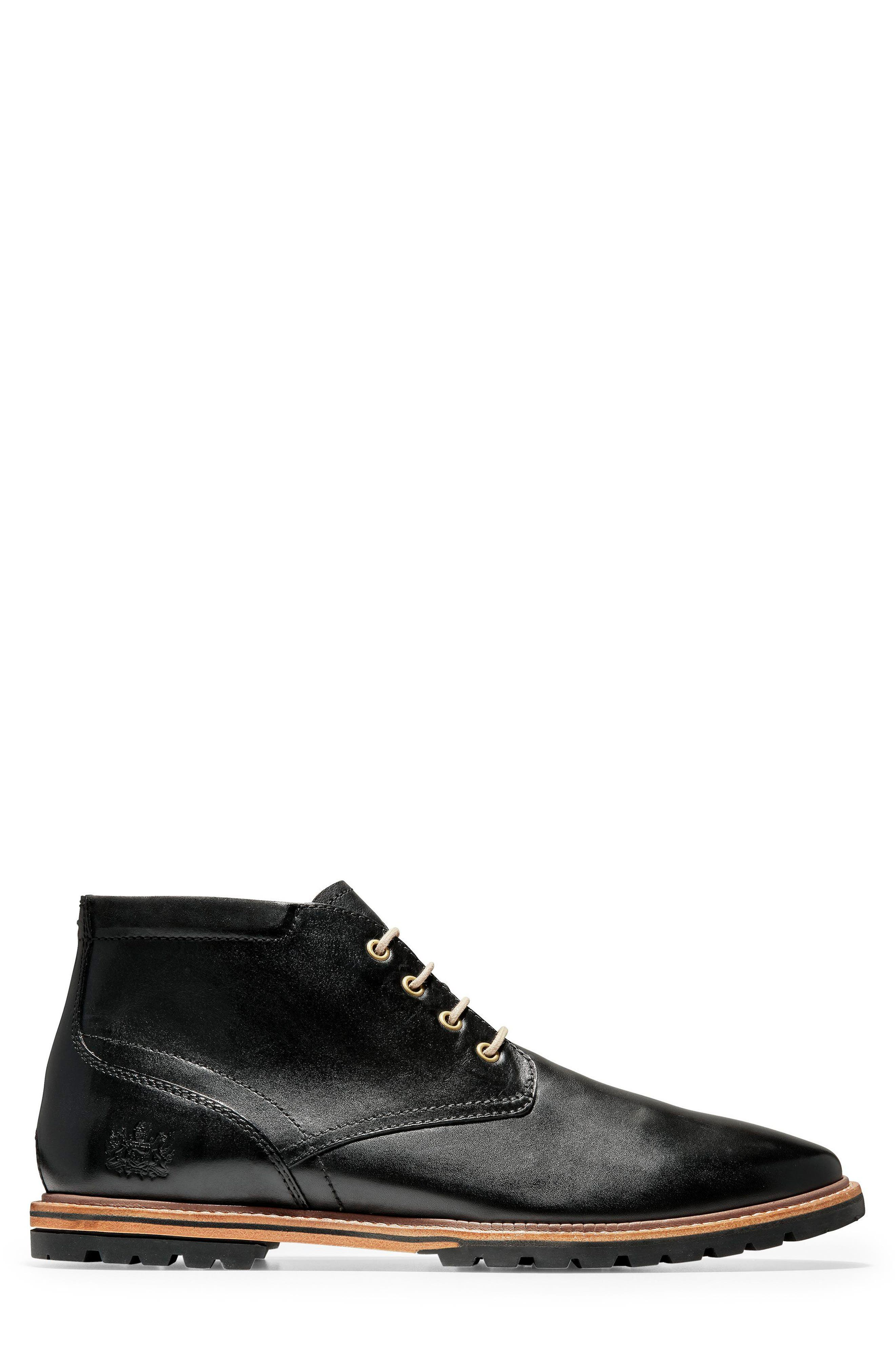 COLE HAAN, Raymond Grand Chukka Boot, Alternate thumbnail 3, color, BLACK LEATHER