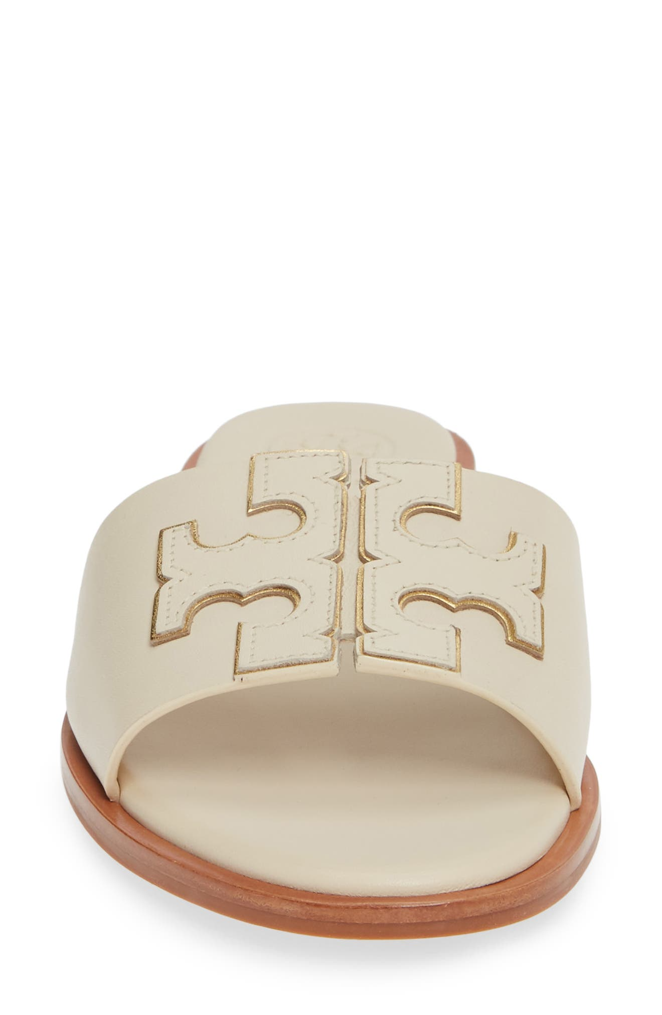 TORY BURCH, Ines Slide Sandal, Alternate thumbnail 4, color, NEW CREAM/ GOLD