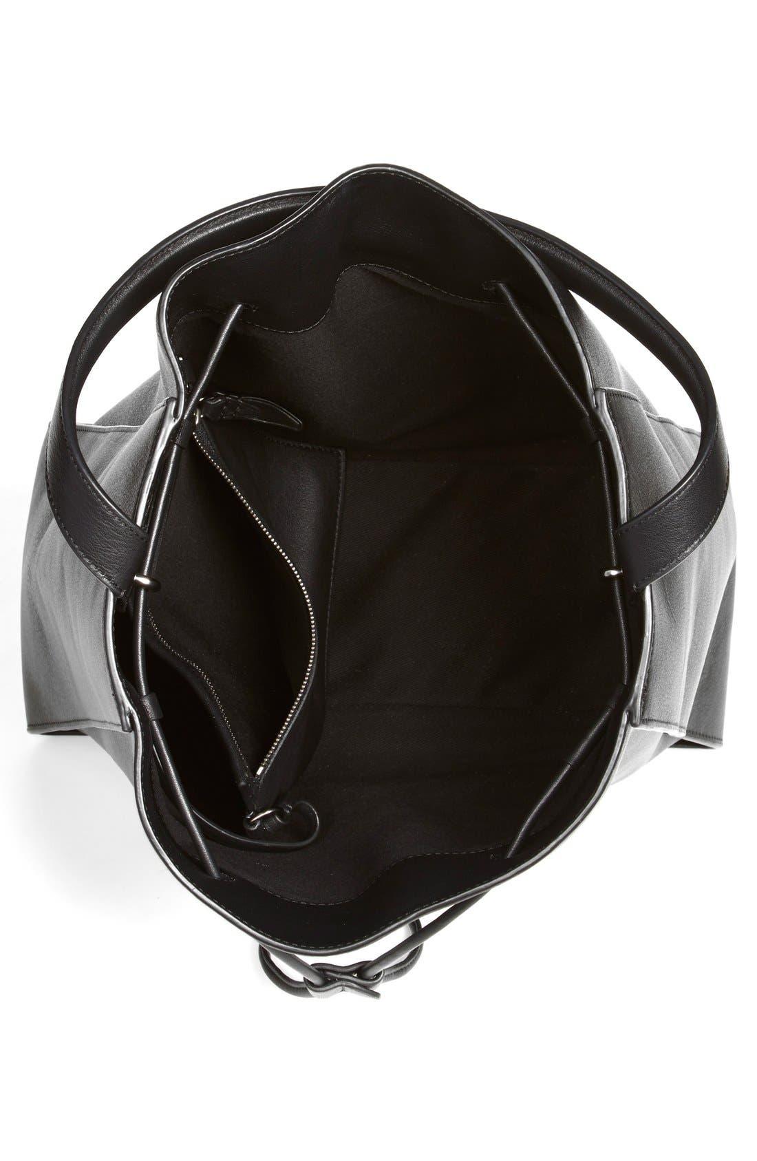 3.1 PHILLIP LIM, 'Large Soleil' Leather Bucket Bag, Alternate thumbnail 2, color, 001
