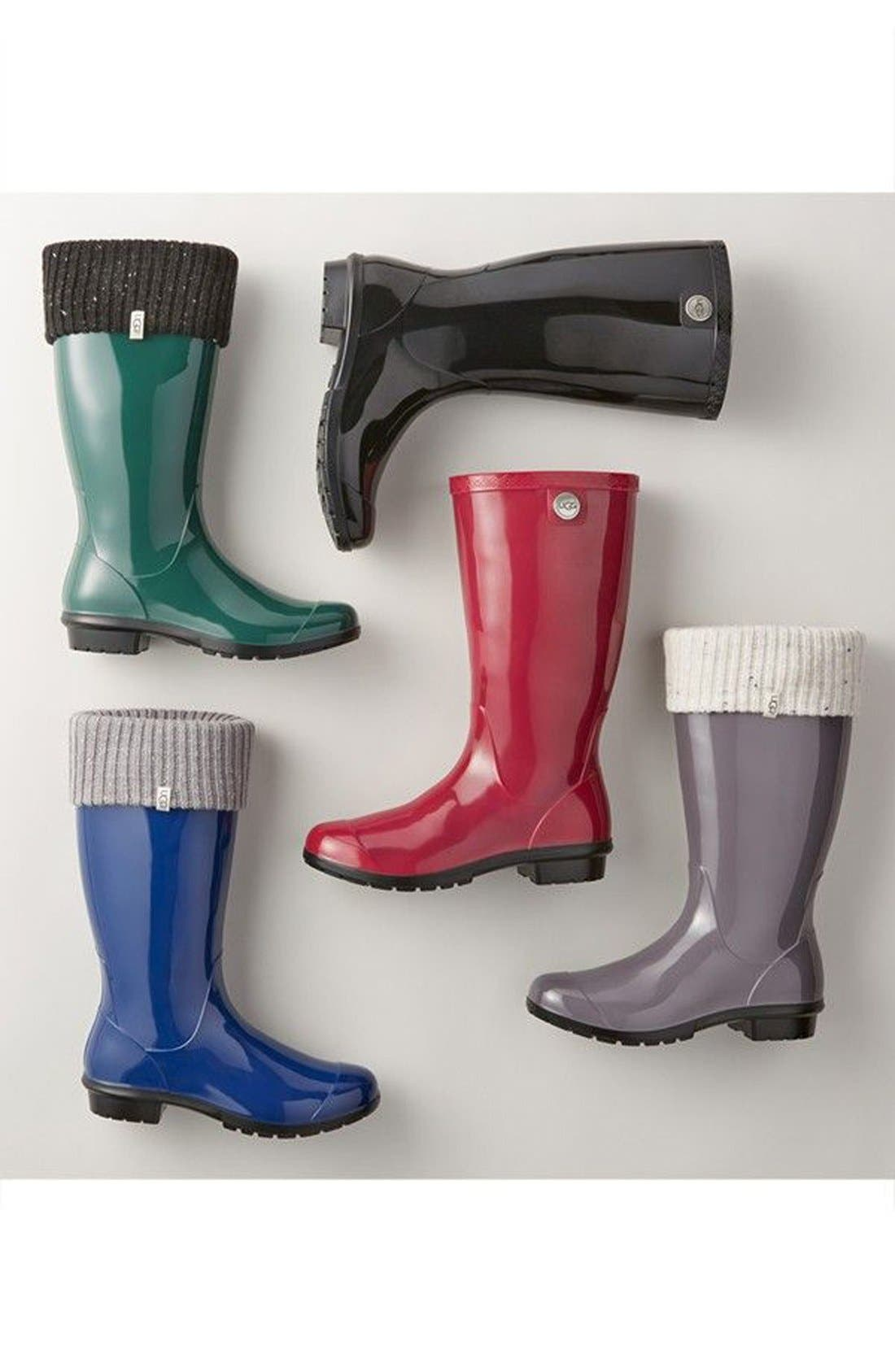 UGG<SUP>®</SUP>, Shaye Rain Boot, Alternate thumbnail 5, color, BLACK RUBBER