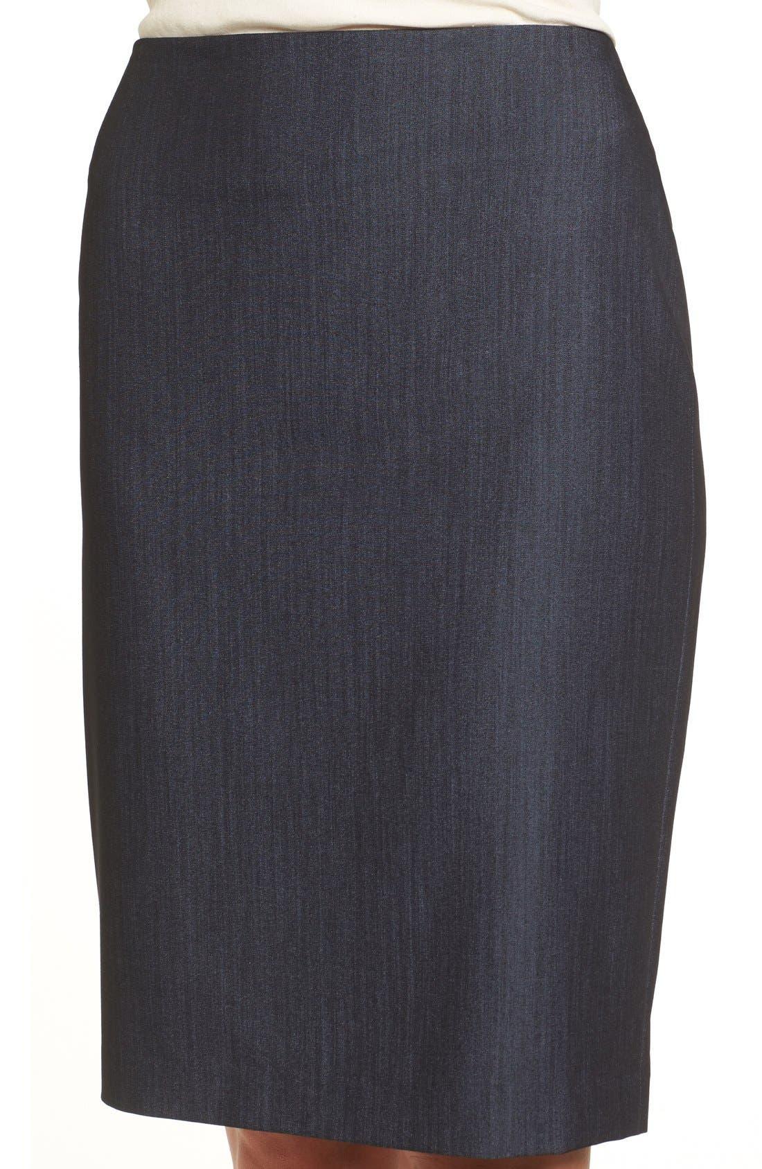 ANNE KLEIN, Stretch Woven Suit Skirt, Alternate thumbnail 4, color, INDIGO TWILL