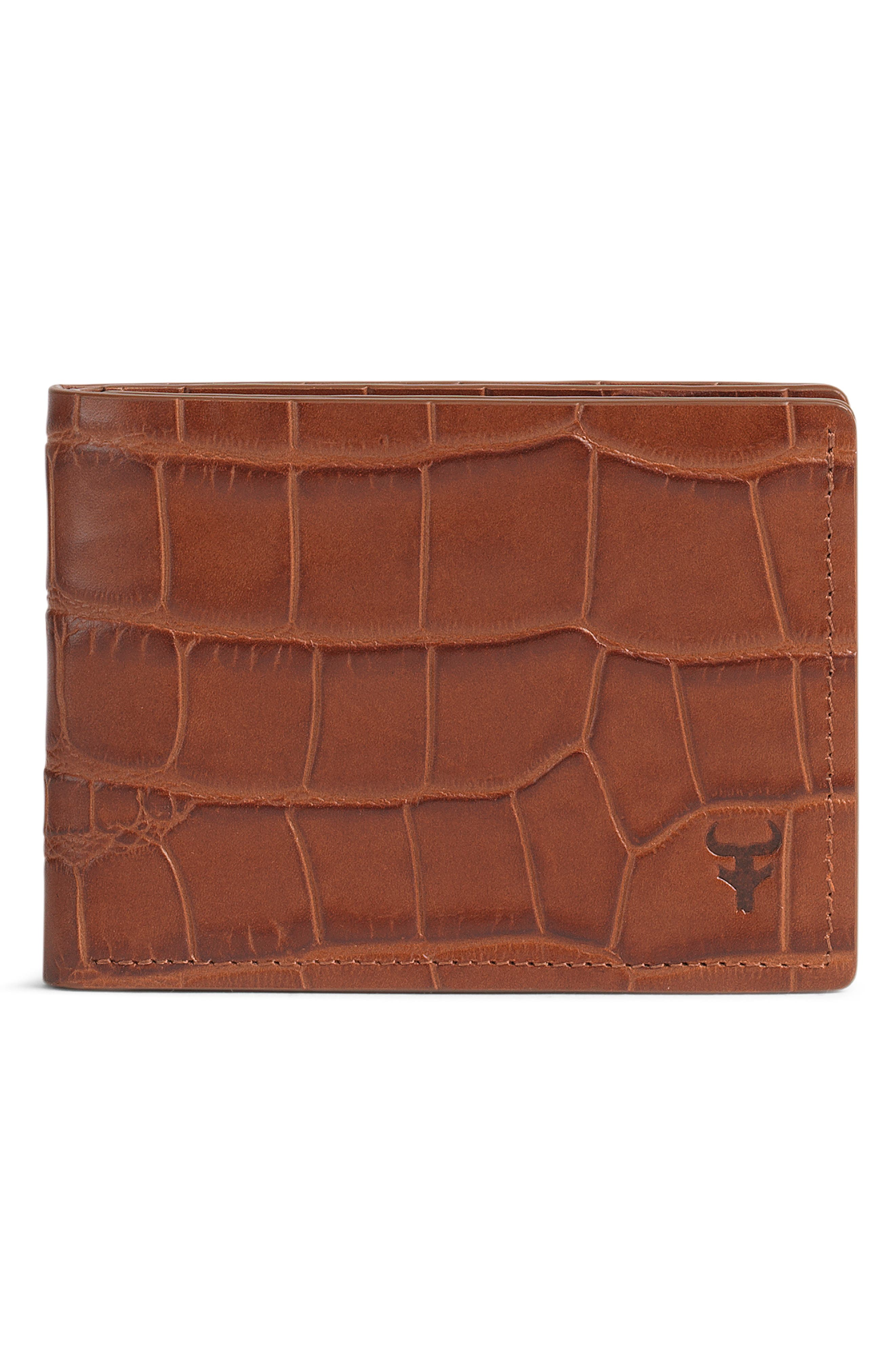 TRASK, 'Jackson' Super Slim Leather Wallet, Alternate thumbnail 3, color, SCOTCH