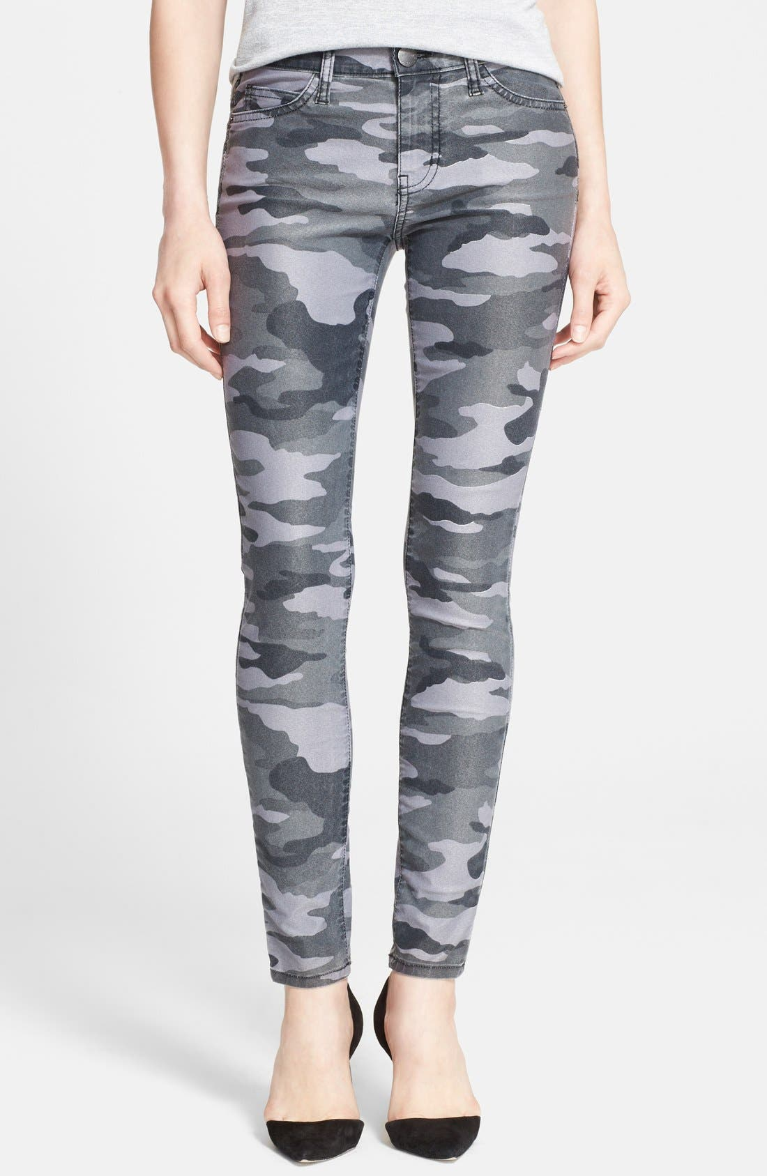 CURRENT/ELLIOTT, 'The Ankle Skinny' Coated Camo Skinny Jeans, Main thumbnail 1, color, 009