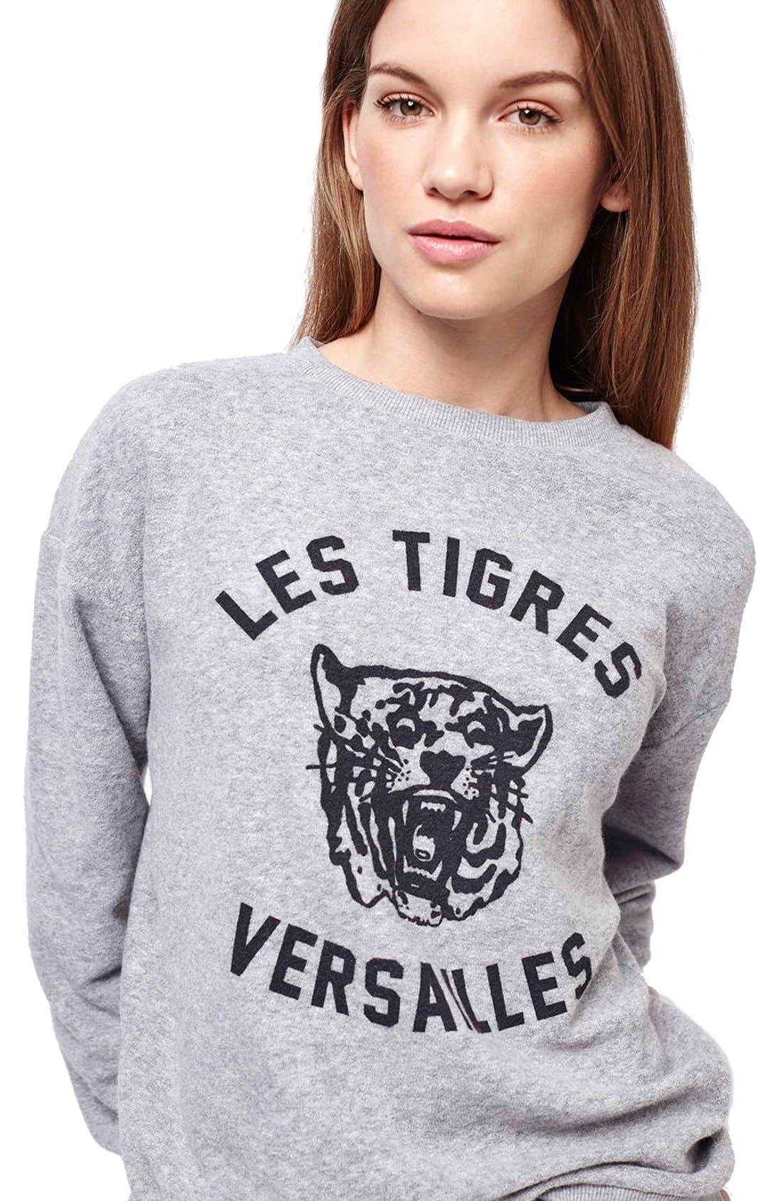 TOPSHOP 'Versailles' Sweatshirt, Main, color, 050