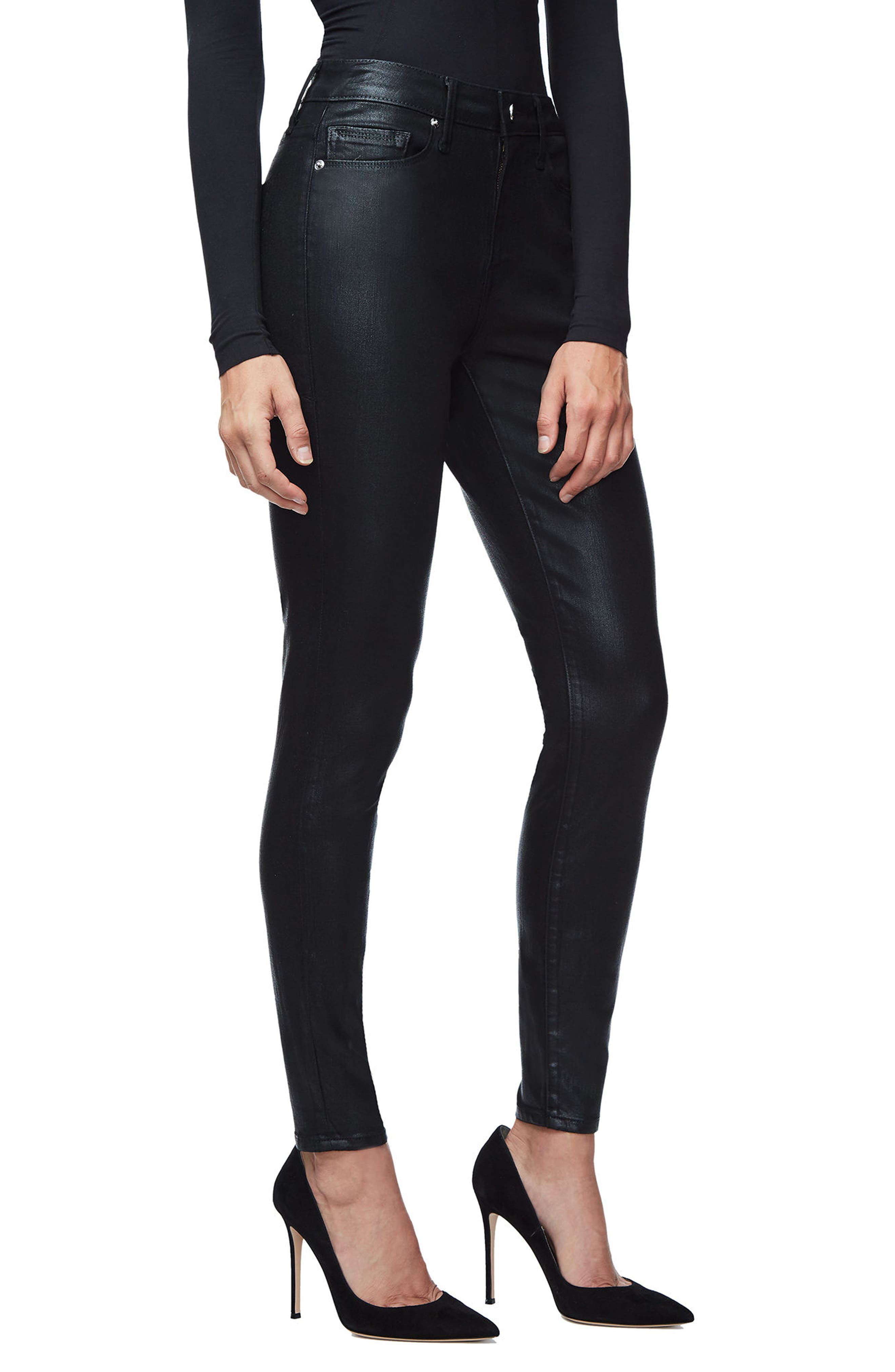 GOOD AMERICAN, Good Legs High Waist Skinny Jeans, Alternate thumbnail 5, color, BLACK