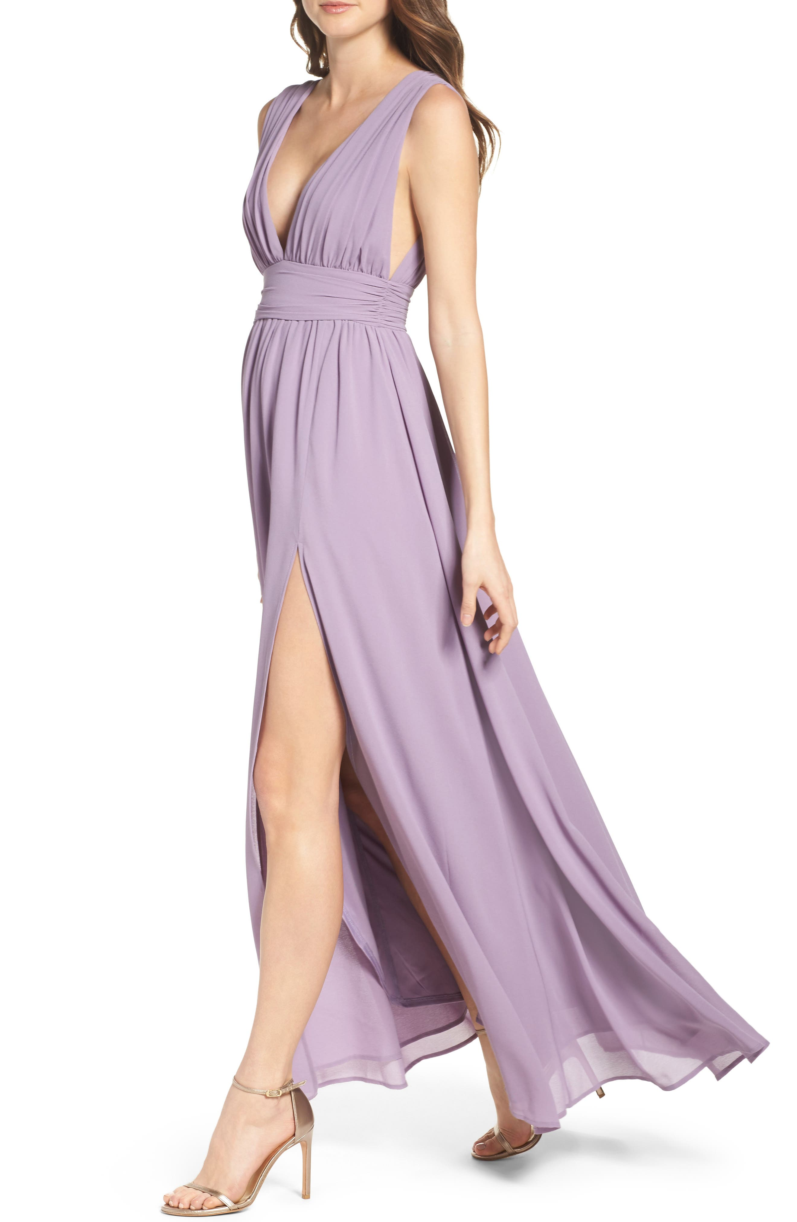 LULUS, Plunging V-Neck Chiffon Gown, Alternate thumbnail 5, color, DUSTY VIOLET