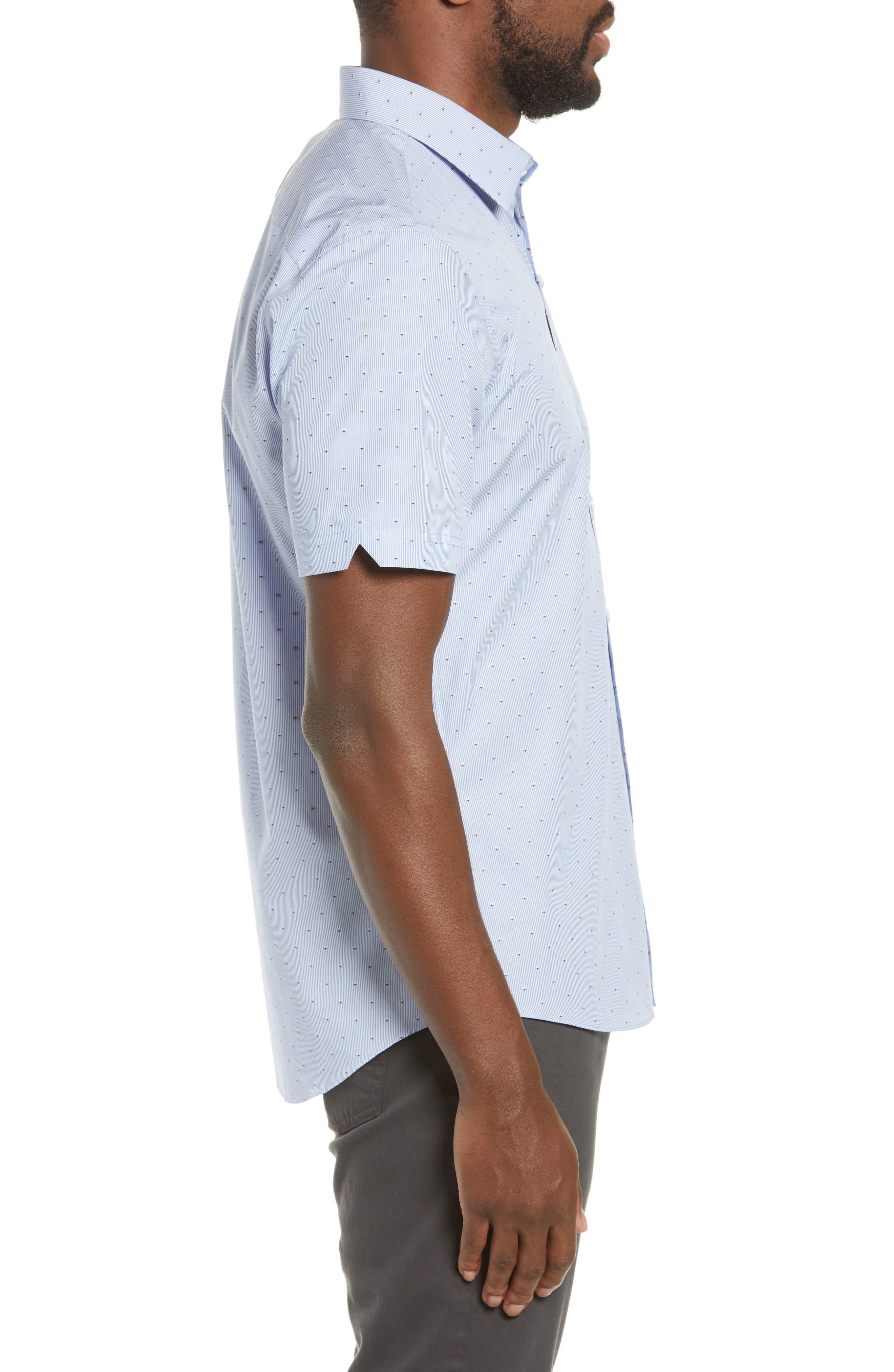 ZACHARY PRELL, Grogan Regular Fit Dobby Stripe Sport Shirt, Alternate thumbnail 4, color, BLUE