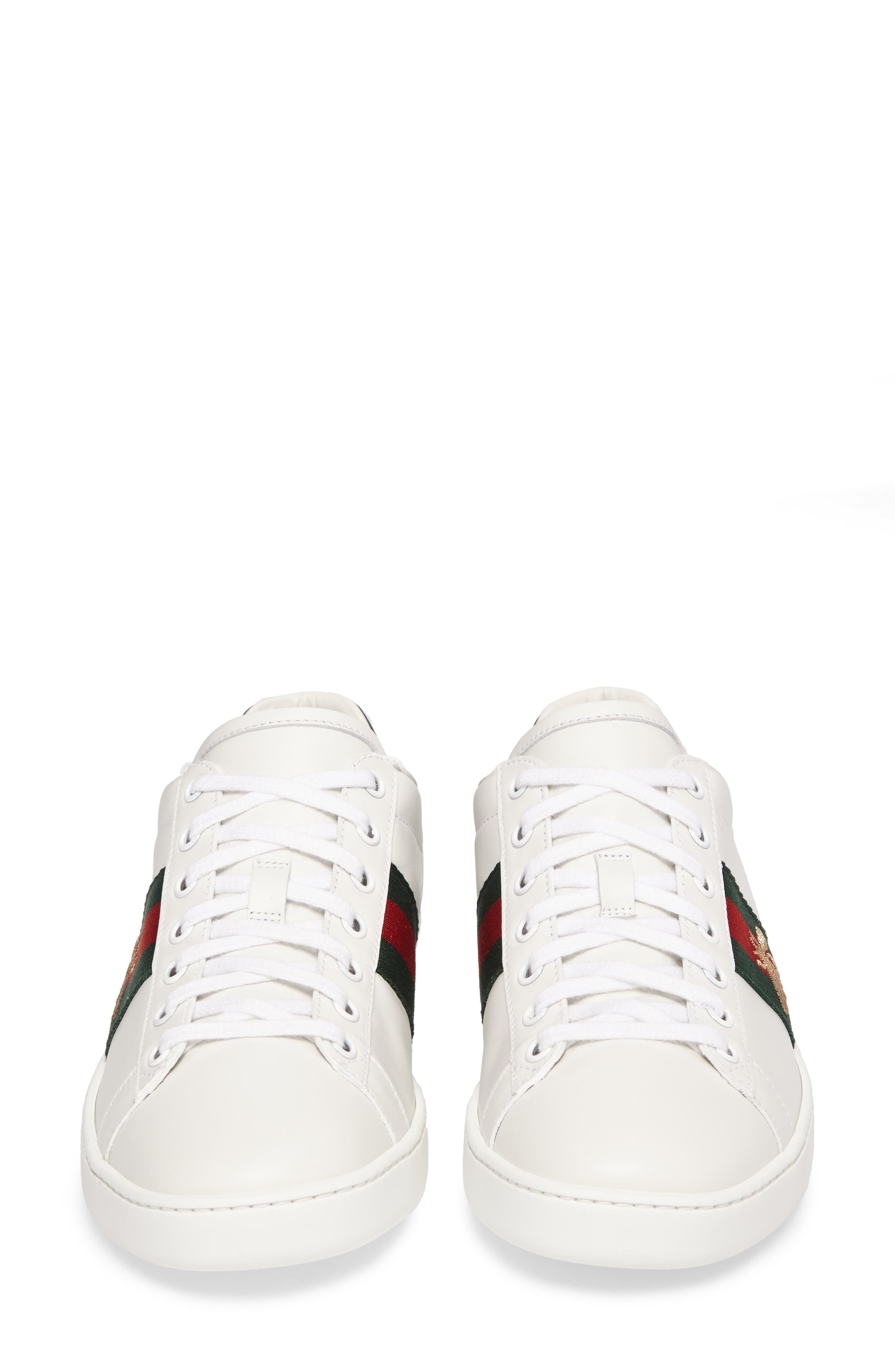 GUCCI, New Ace Sneaker, Alternate thumbnail 4, color, WHITE LEATHER