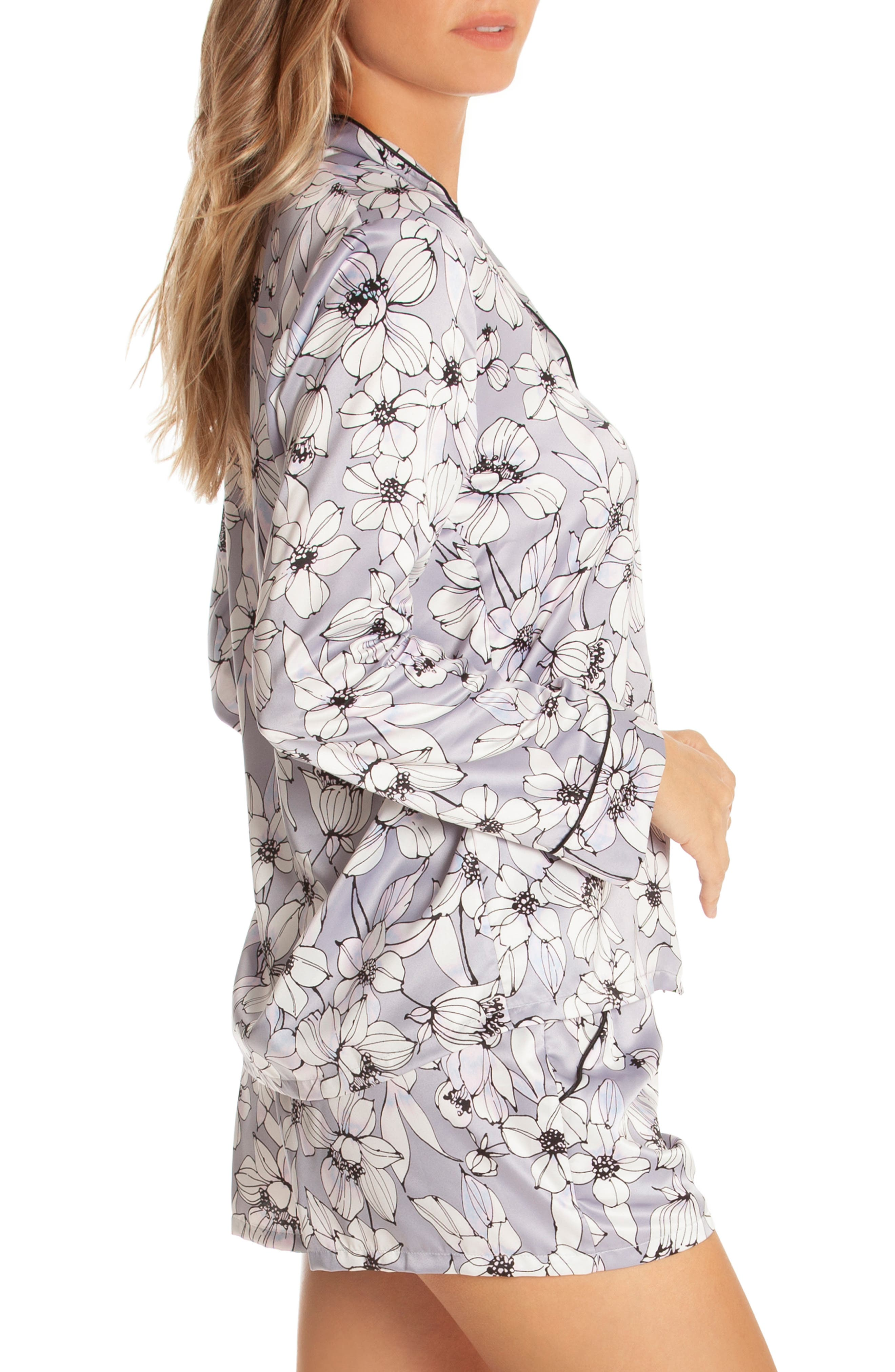 IN BLOOM BY JONQUIL, Look of Love Short Pajamas, Alternate thumbnail 3, color, GREY-RISA FLORAL