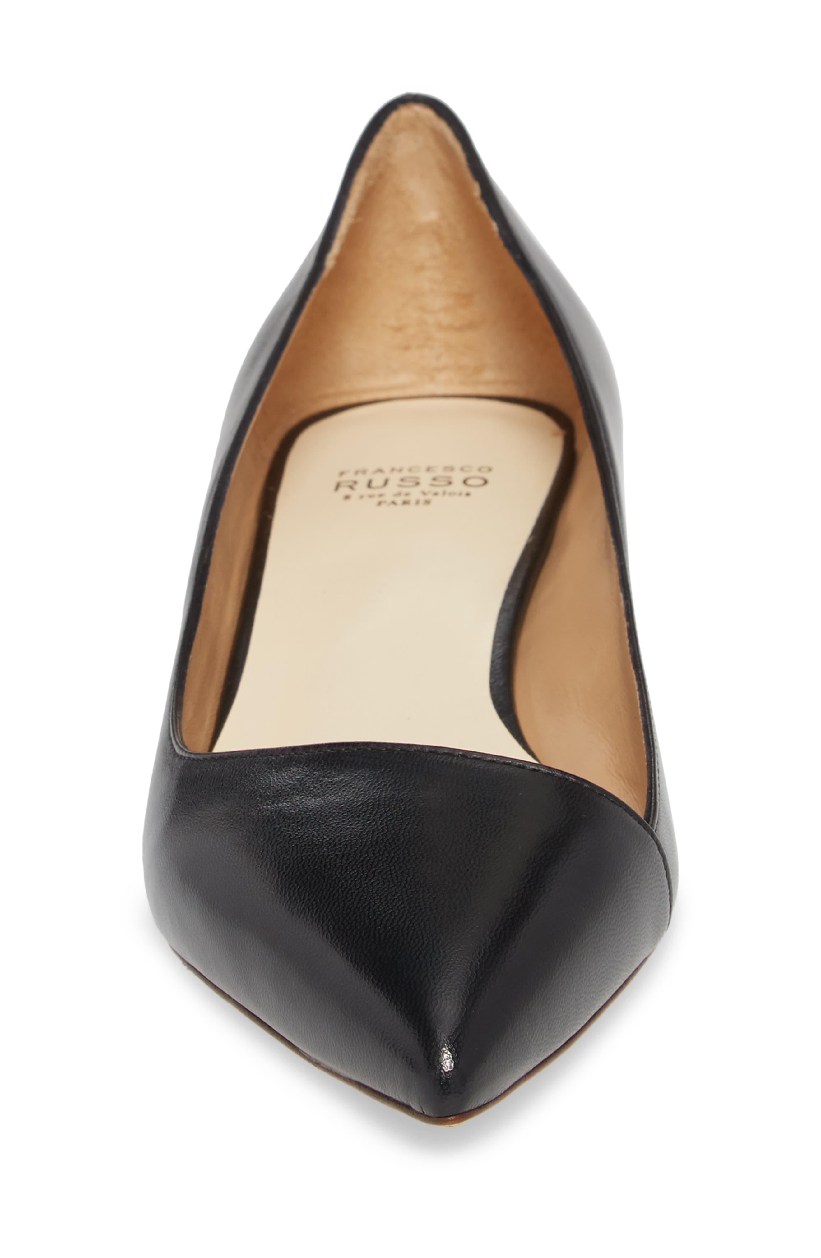FRANCESCO RUSSO, Asymmetric Pointy Toe Flat, Alternate thumbnail 4, color, BLACK