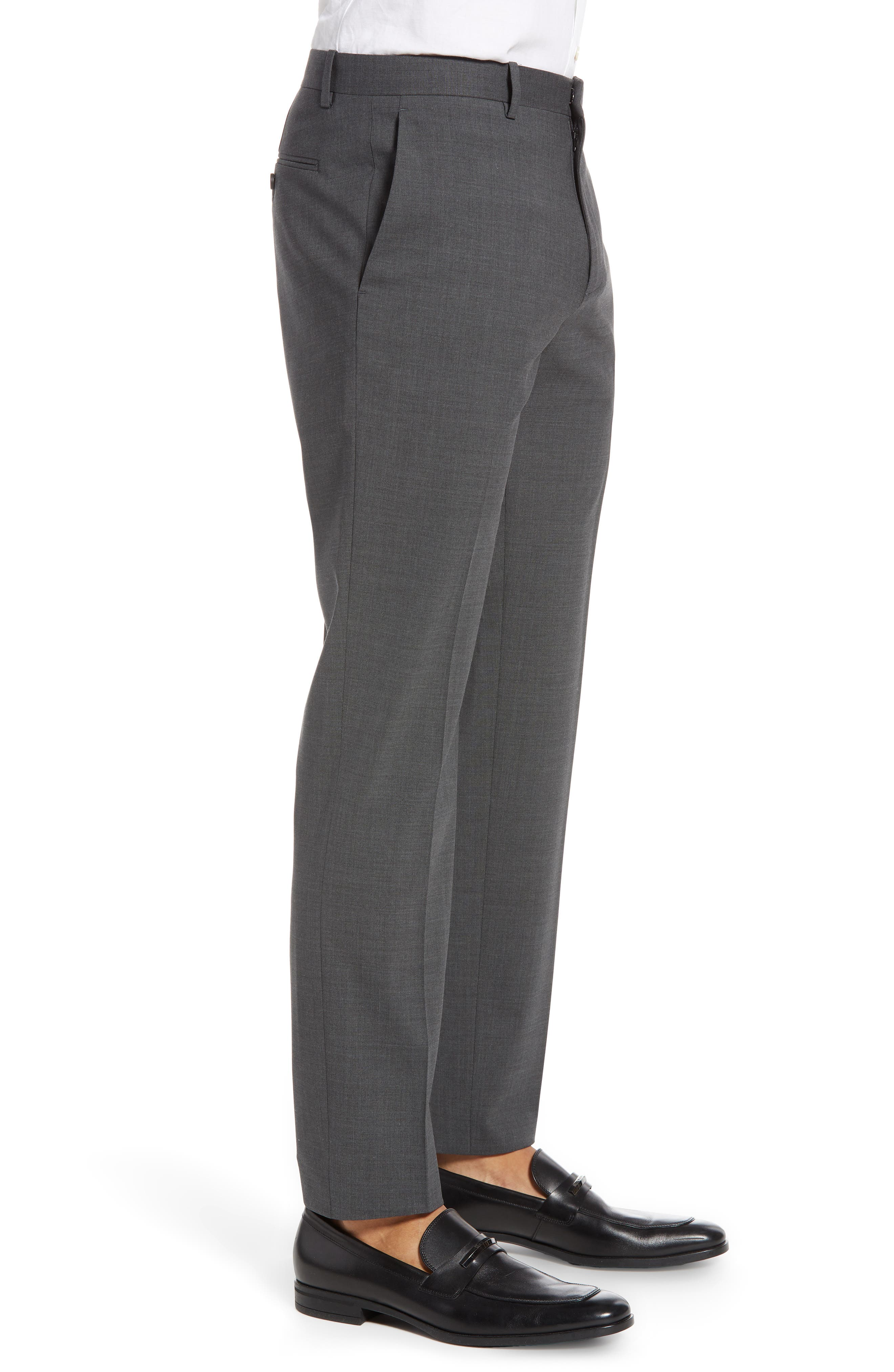 THEORY, Mayer New Tailor 2 Wool Trousers, Alternate thumbnail 3, color, CHARCOAL