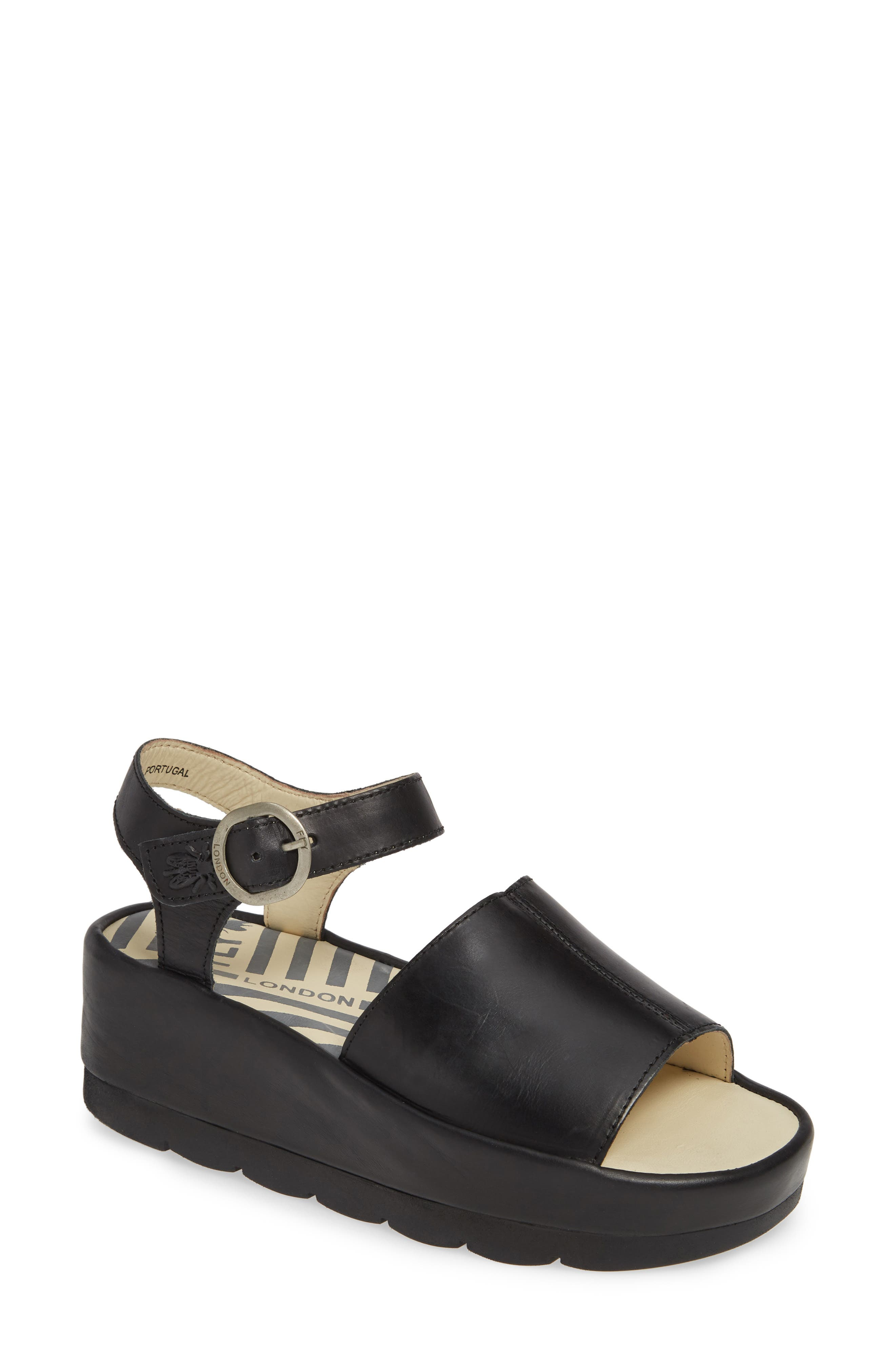 FLY LONDON, Bano Platform Sandal, Main thumbnail 1, color, BLACK LEATHER