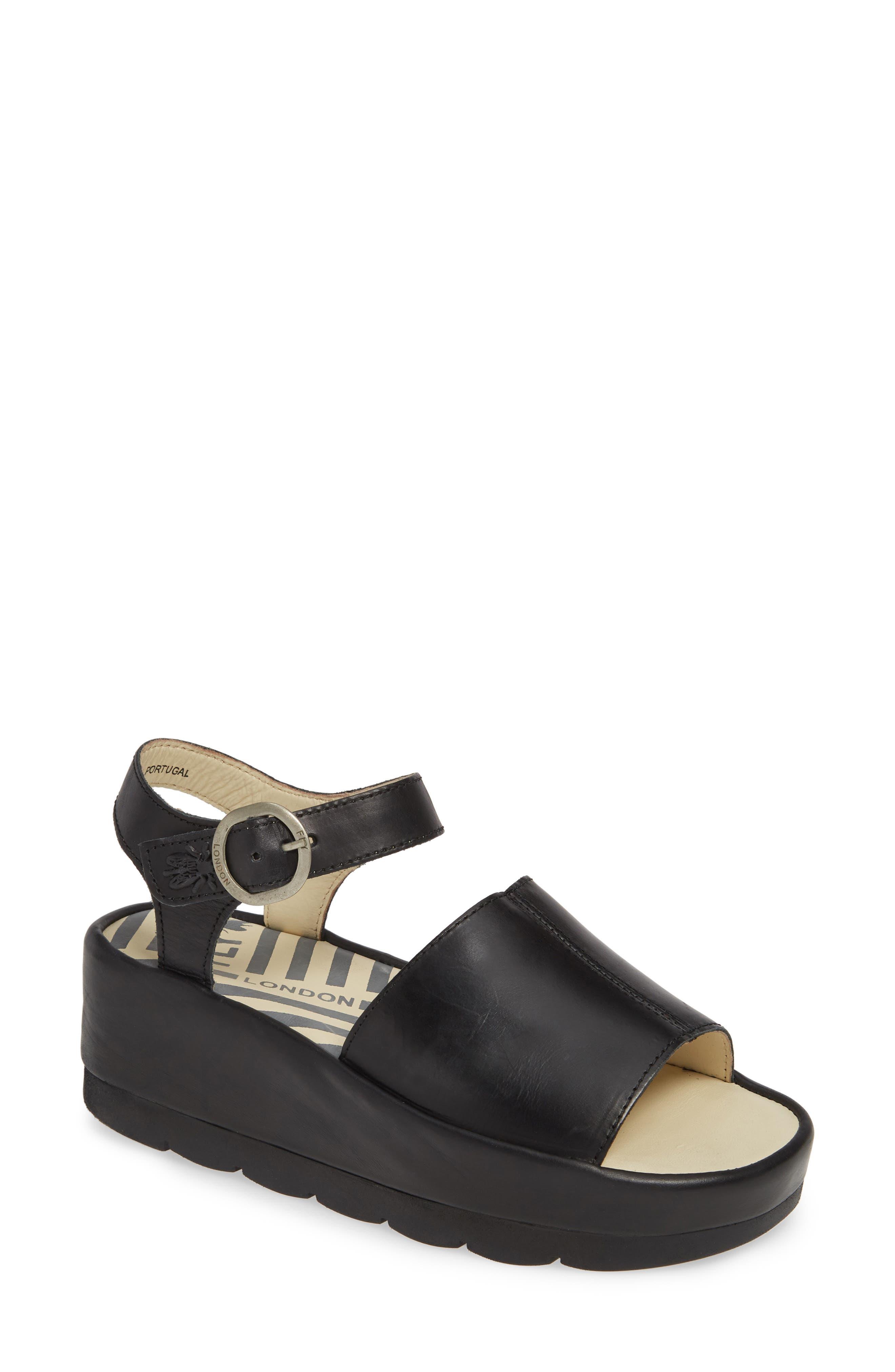FLY LONDON Bano Platform Sandal, Main, color, BLACK LEATHER