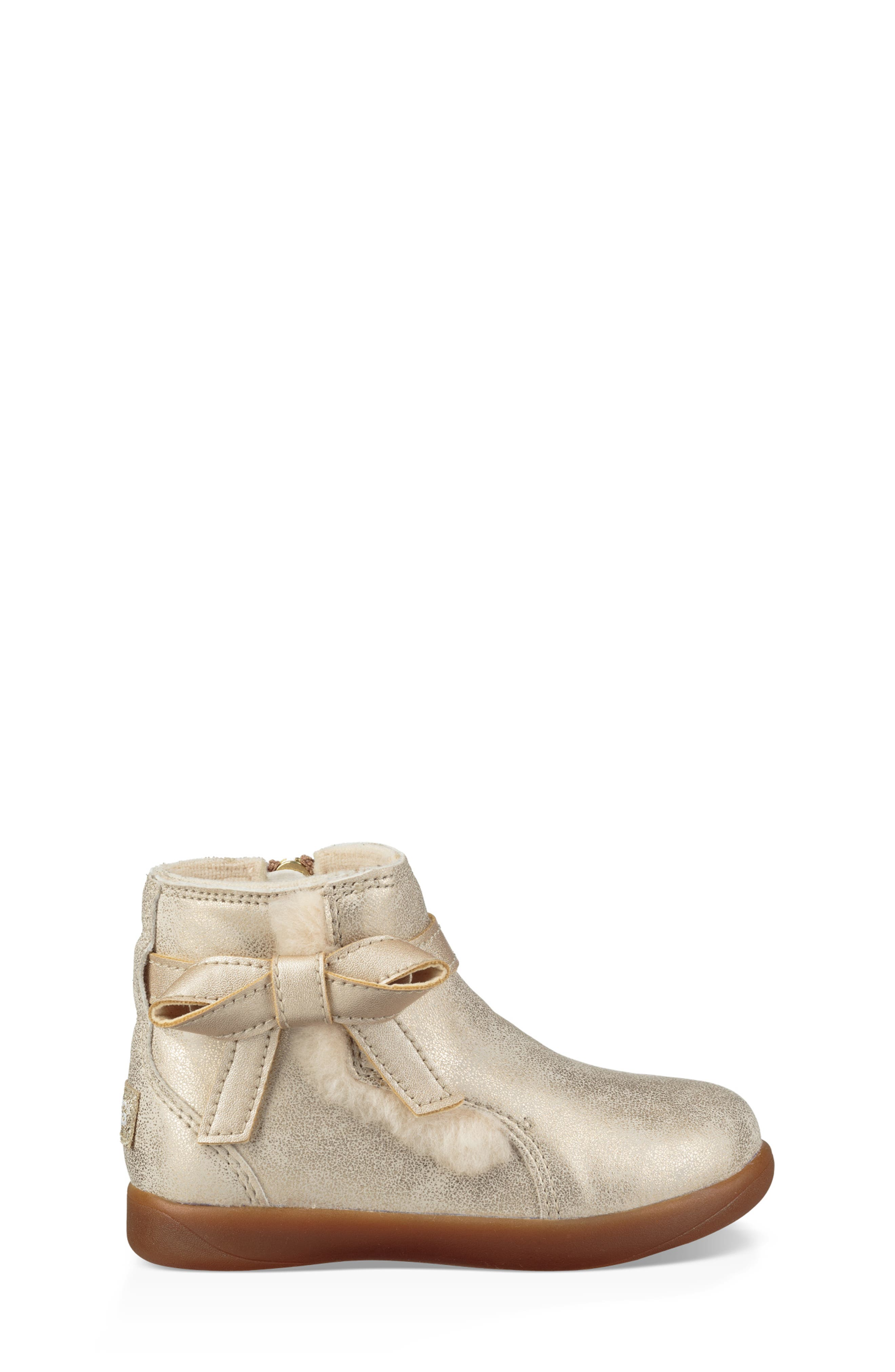UGG<SUP>®</SUP>, Libbie Metallic Boot, Alternate thumbnail 3, color, GOLD