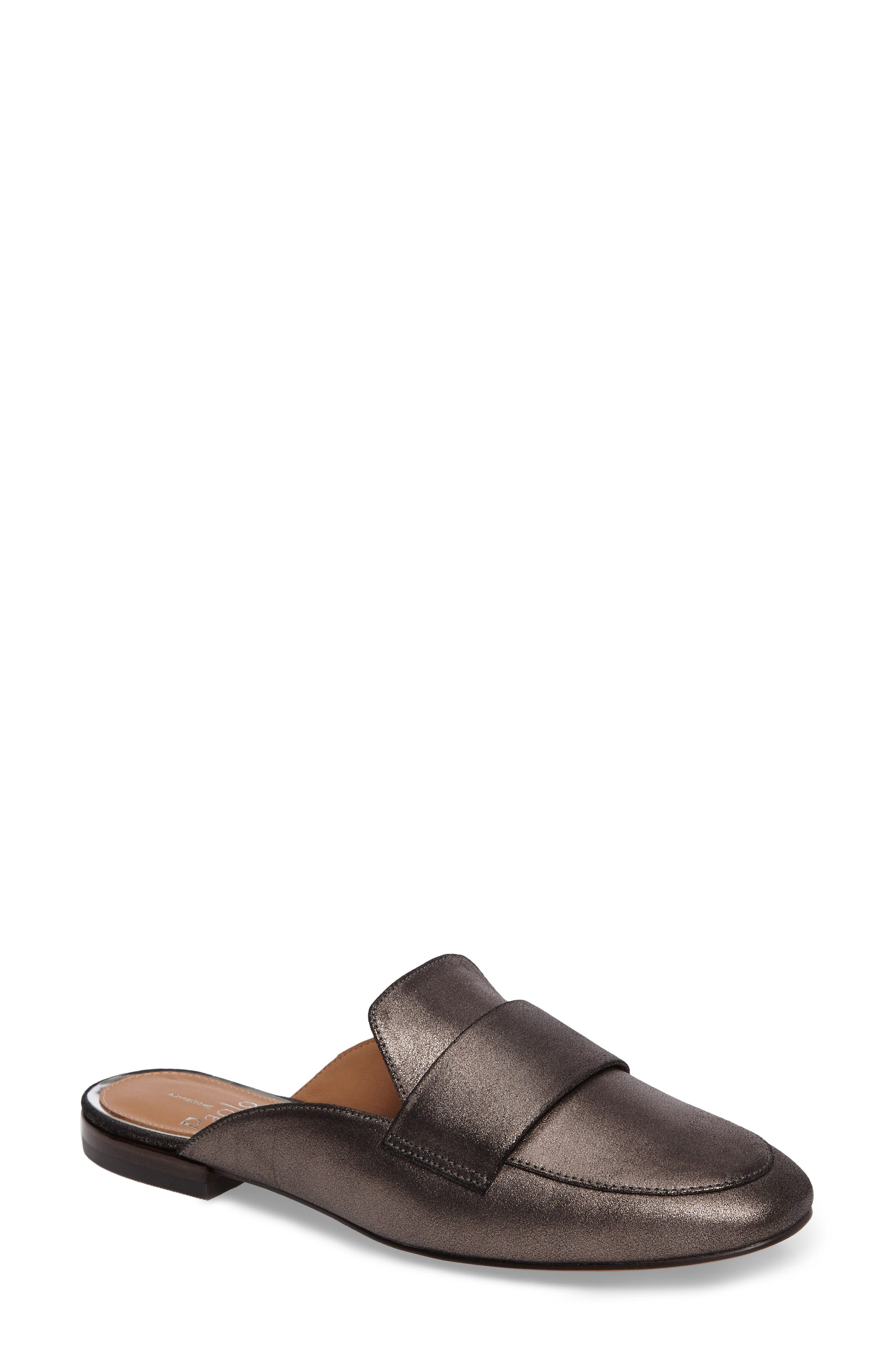 LINEA PAOLO, Annie Loafer Mule, Main thumbnail 1, color, PEWTER SUEDE