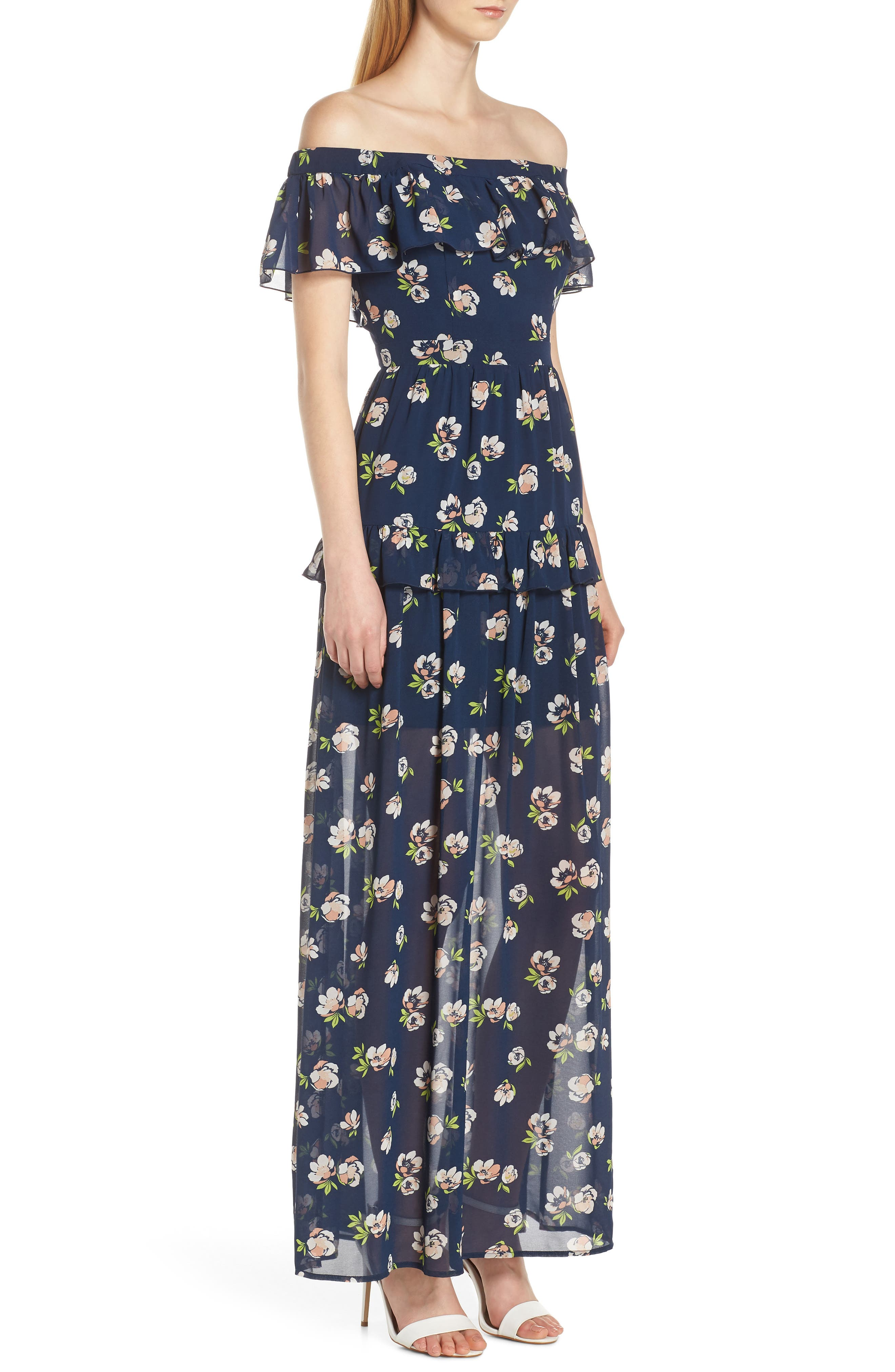 CHARLES HENRY, Off the Shoulder Ruffle Maxi Dress, Alternate thumbnail 4, color, NAVY PEACH FLORAL