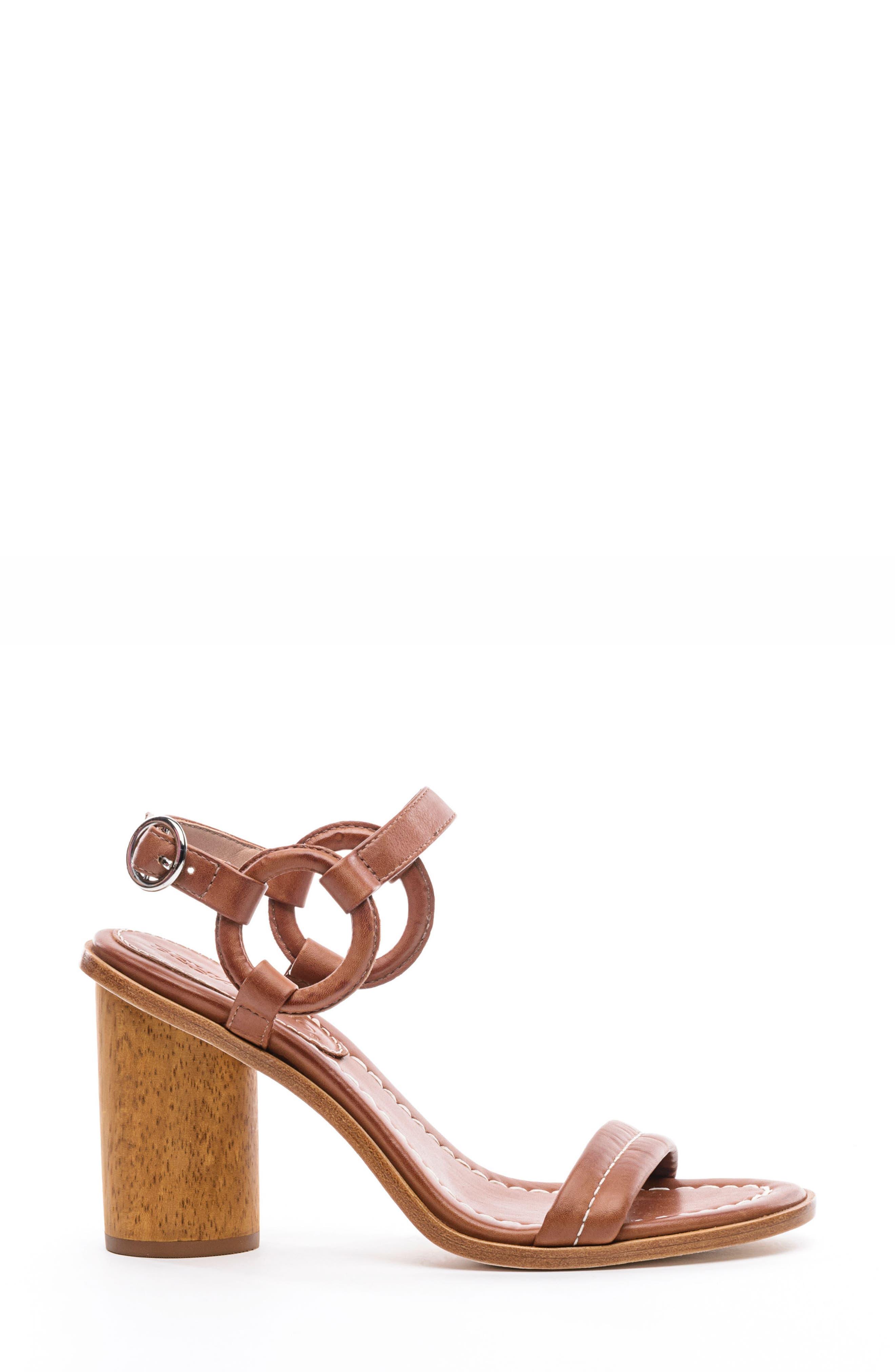 BERNARDO, Harlow Ankle Strap Sandal, Alternate thumbnail 3, color, LUGGAGE LEATHER