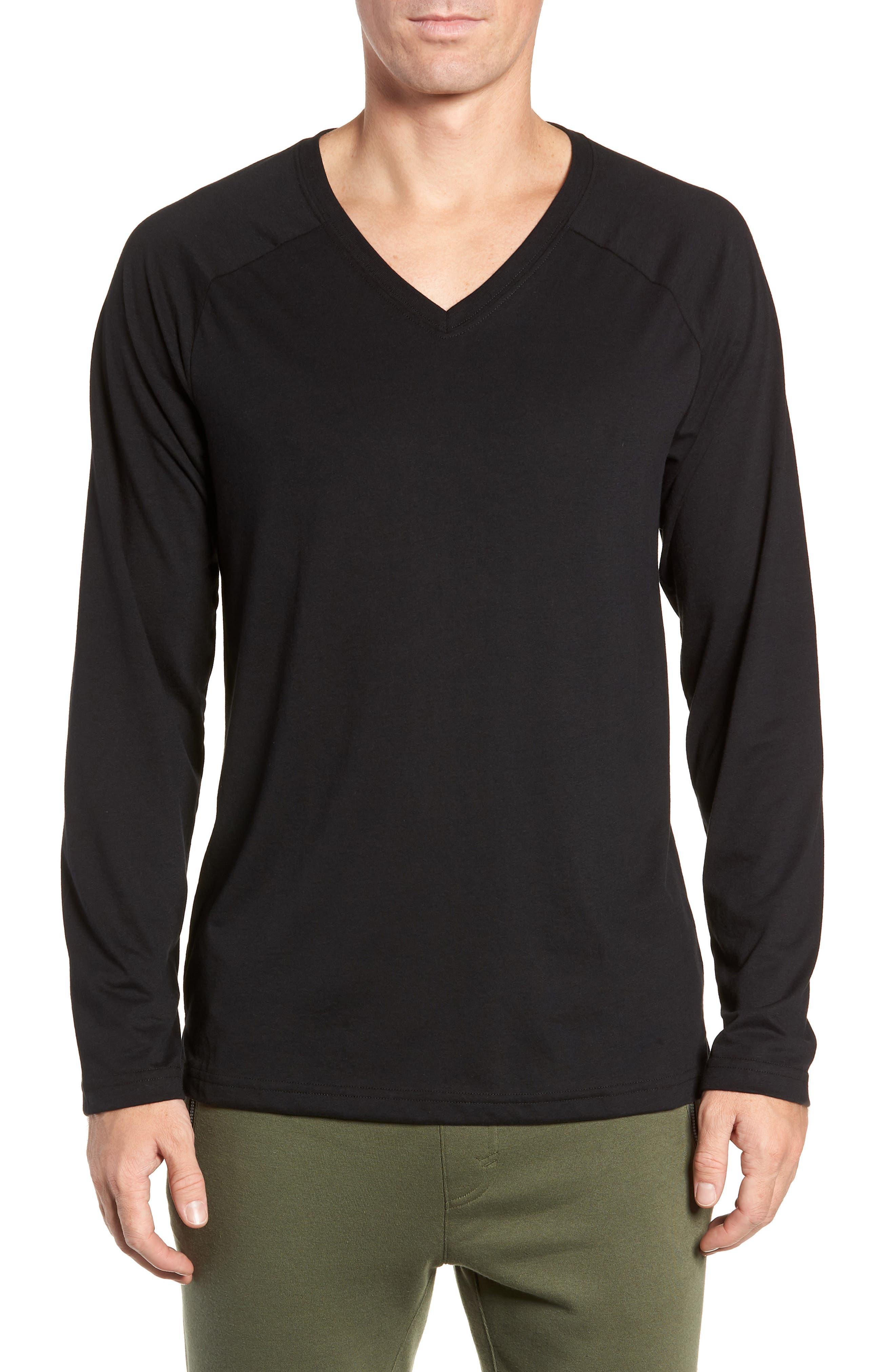 ALO, Triumph Long Raglan Sleeve V-Neck T-Shirt, Main thumbnail 1, color, SOLID BLACK TRIBLEND