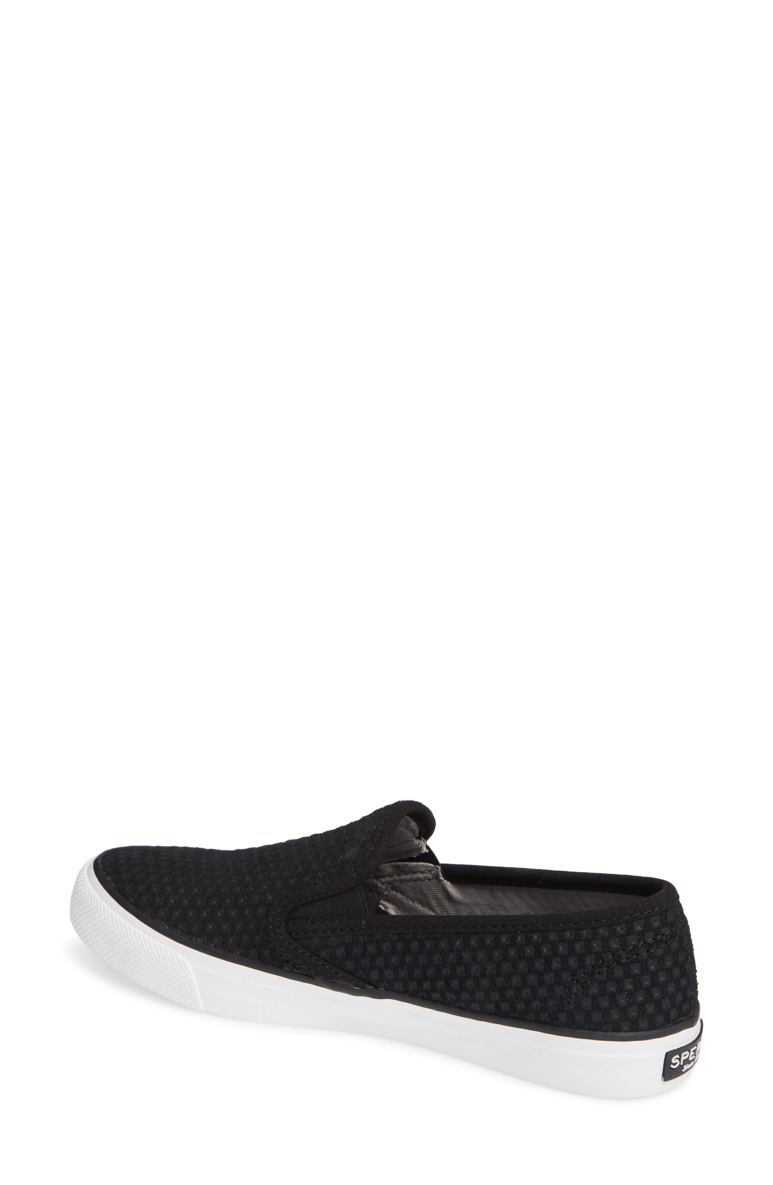 SPERRY, Seaside Embossed Slip-On Sneaker, Alternate thumbnail 2, color, BLACK CANVAS