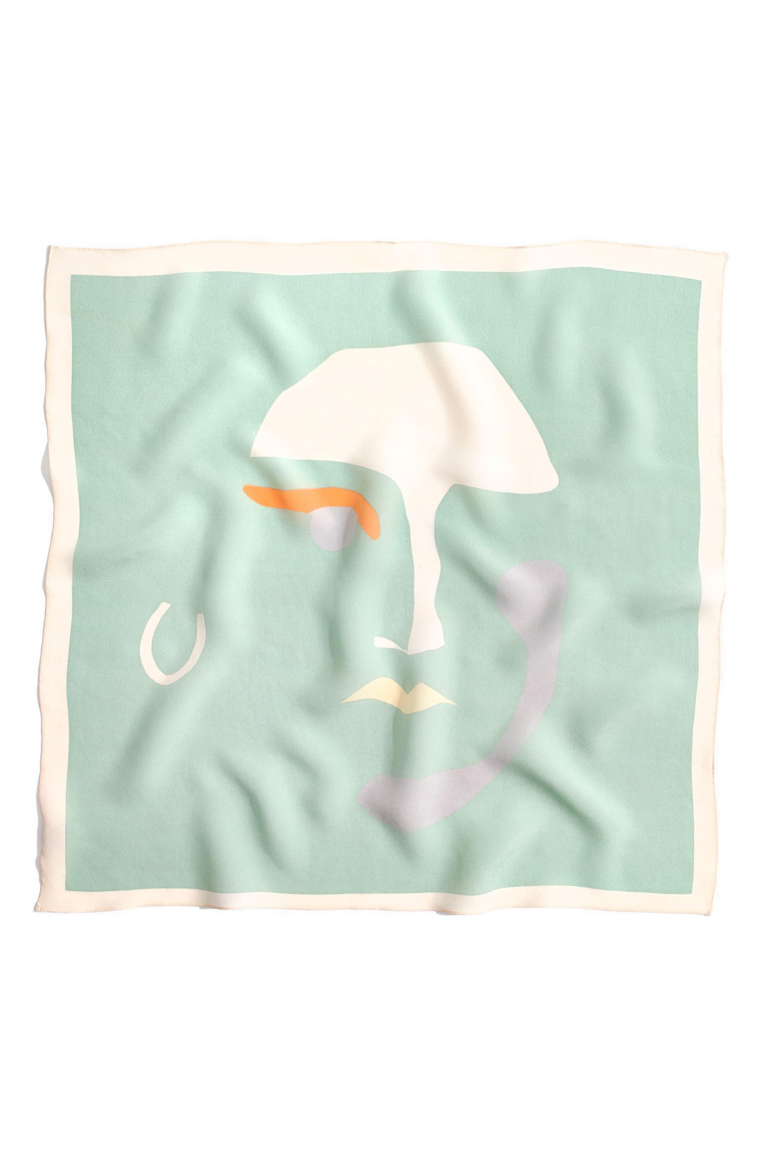 MADEWELL, Silk Bandana, Alternate thumbnail 3, color, SEA HAZE MULTI