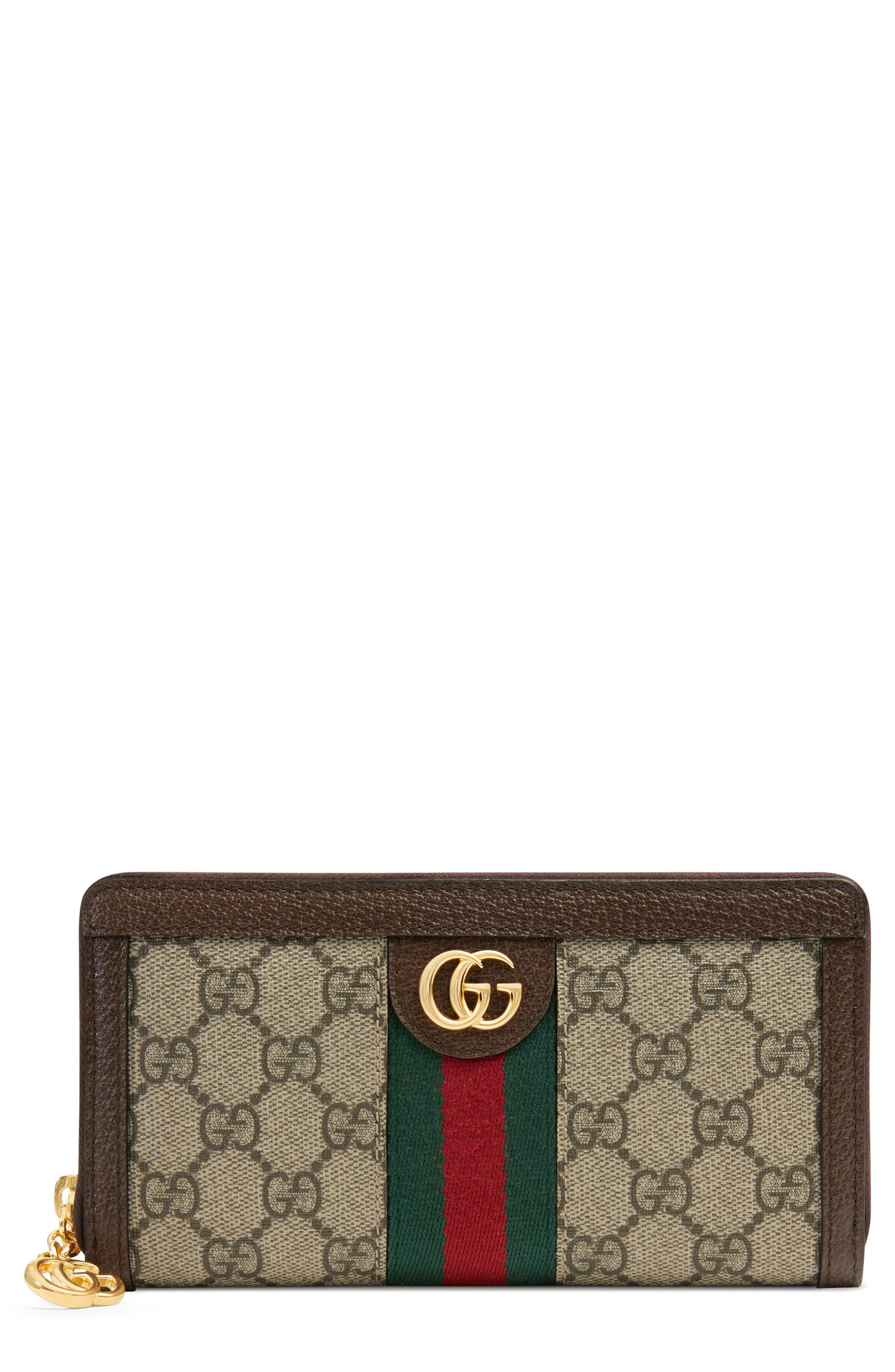 GUCCI, Ophidia GG Supreme Zip-Around Wallet, Main thumbnail 1, color, BEIGE EBONY/ ACERO/ VERT RED