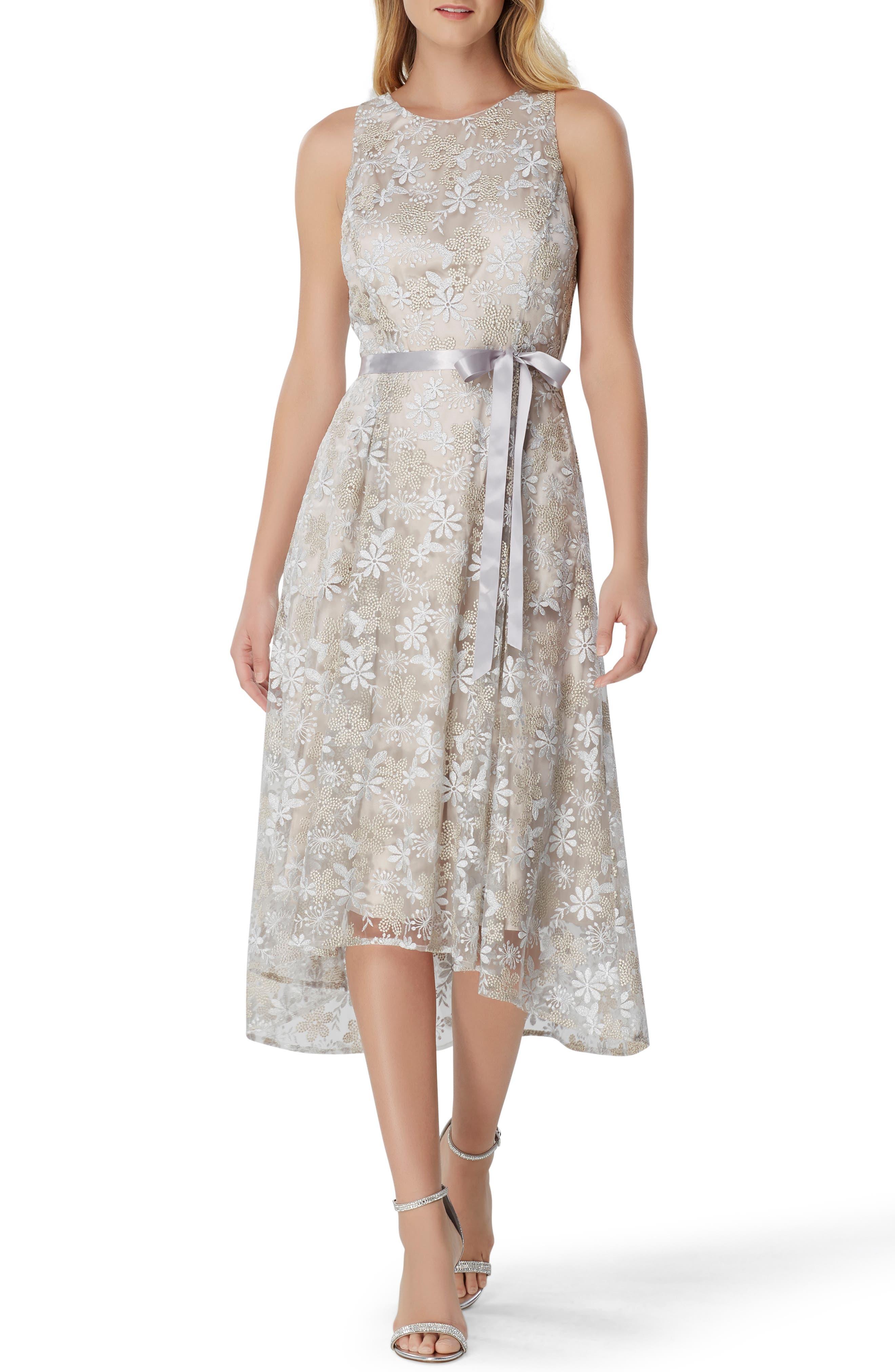 Tahari Embroidered Chiffon Midi Dress, Metallic
