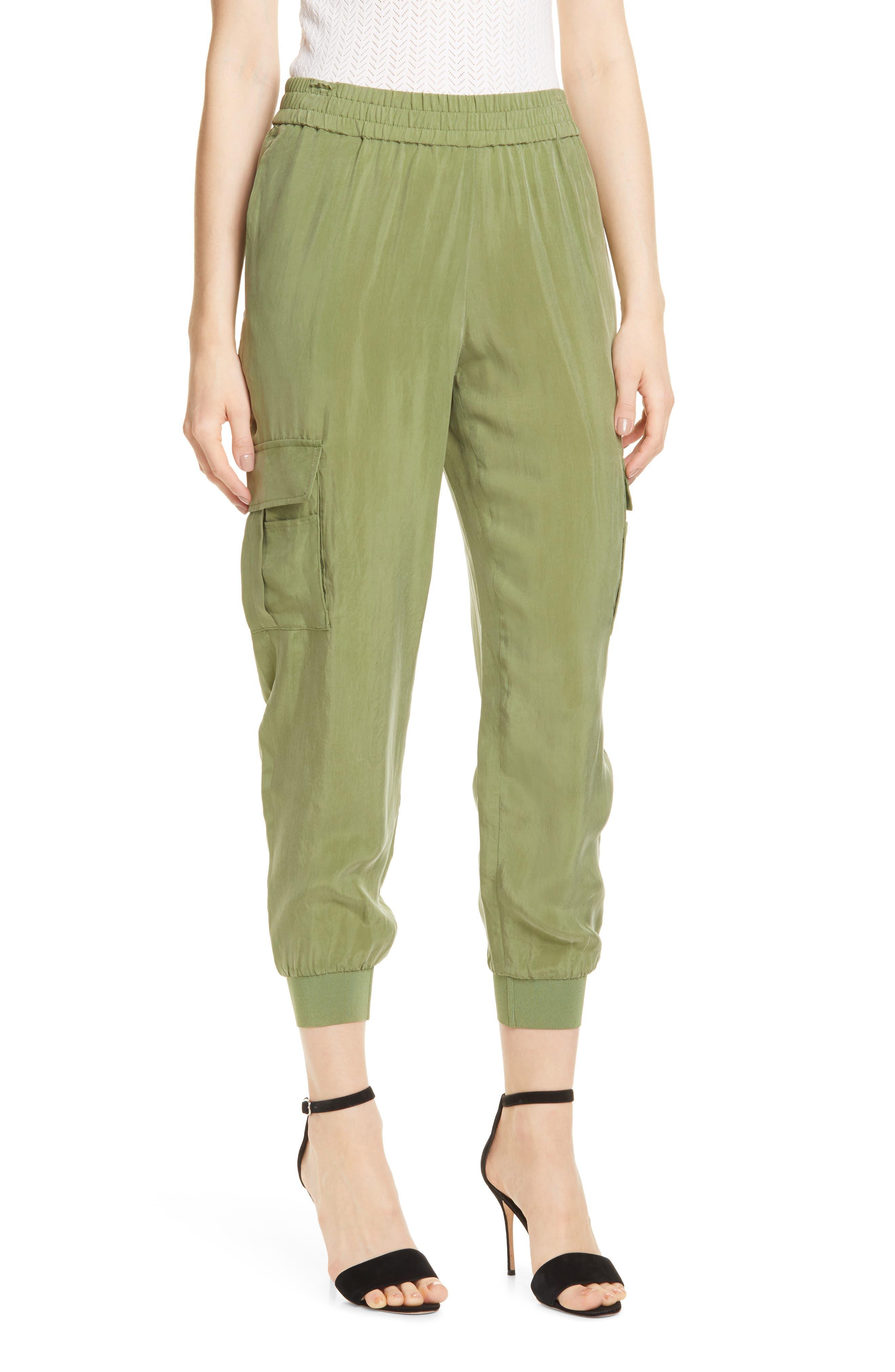 Alice + Olivia Dede Cargo Jogger Pants, Green