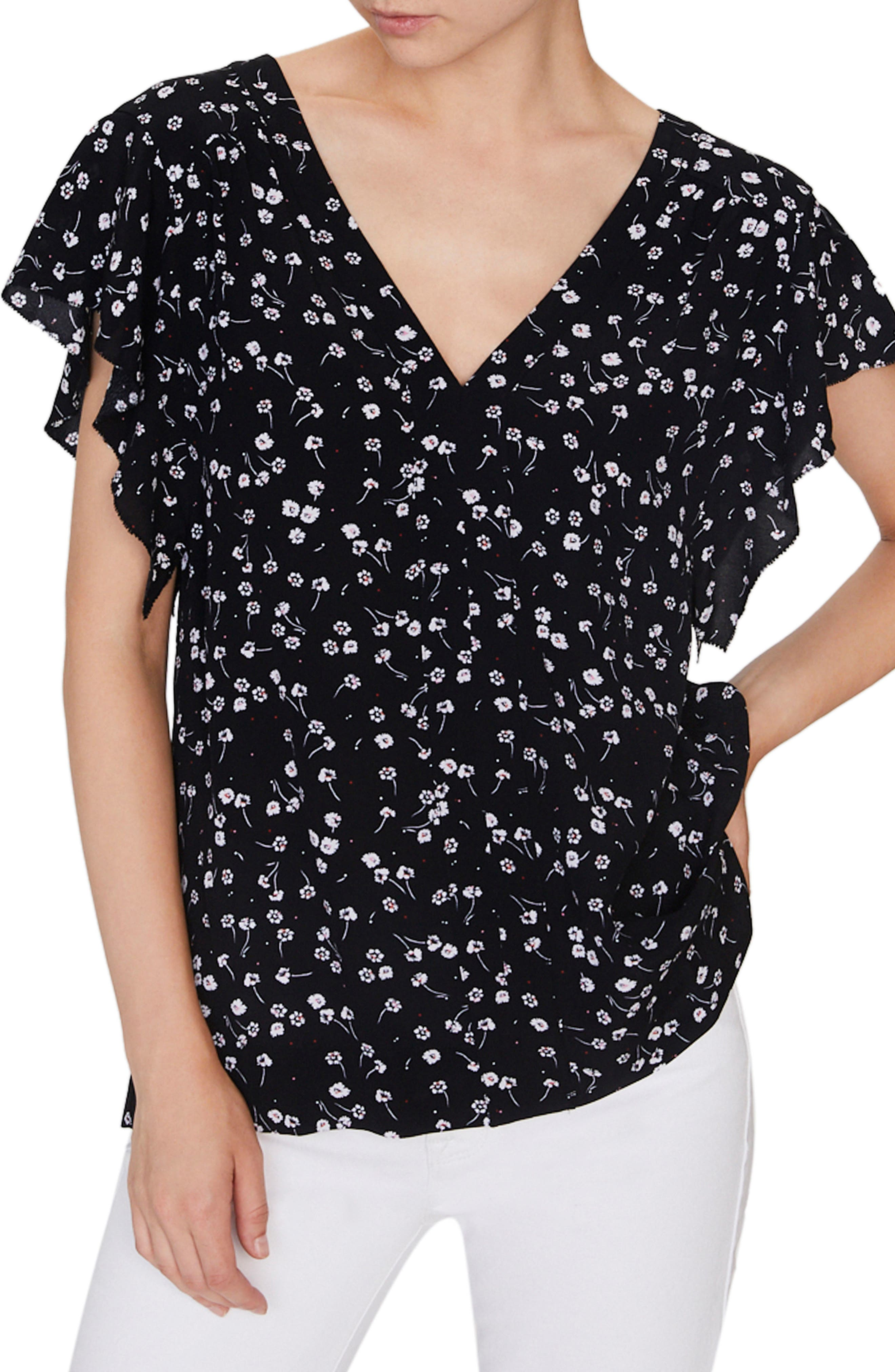 SANCTUARY, Countryside Floral Flowy Top, Main thumbnail 1, color, 006