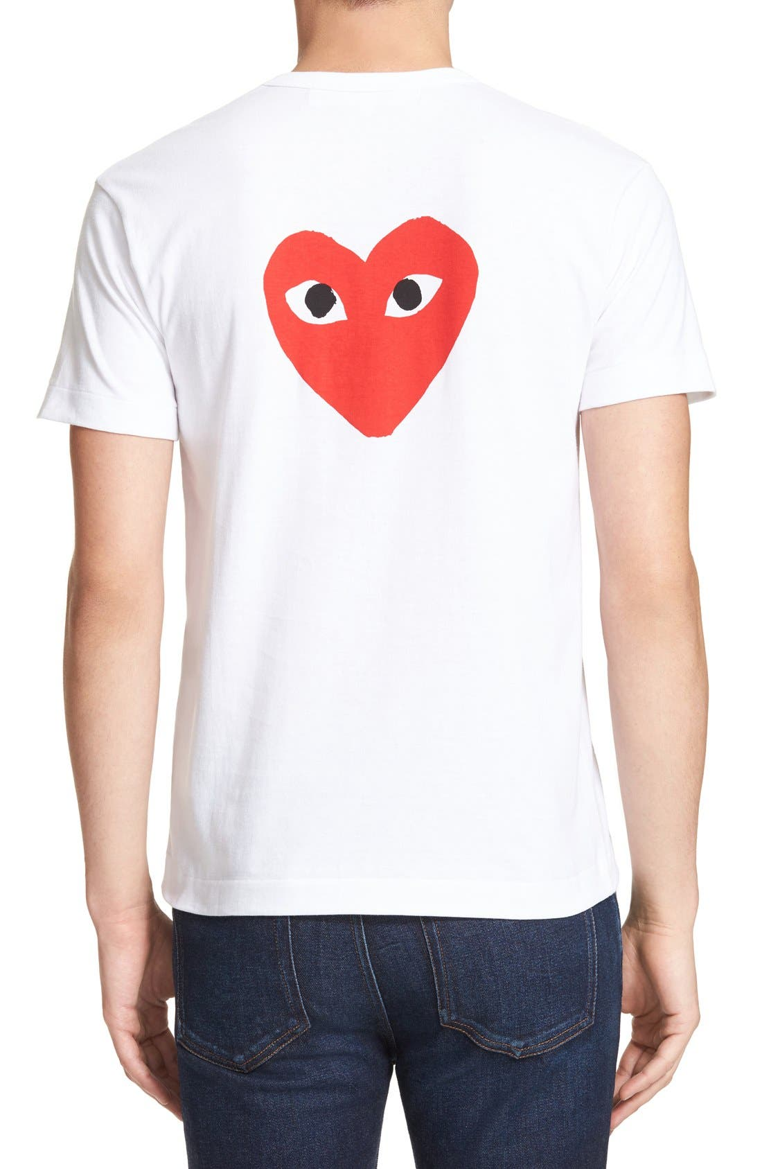 COMME DES GARÇONS PLAY, Graphic T-Shirt, Alternate thumbnail 8, color, WHITE 1