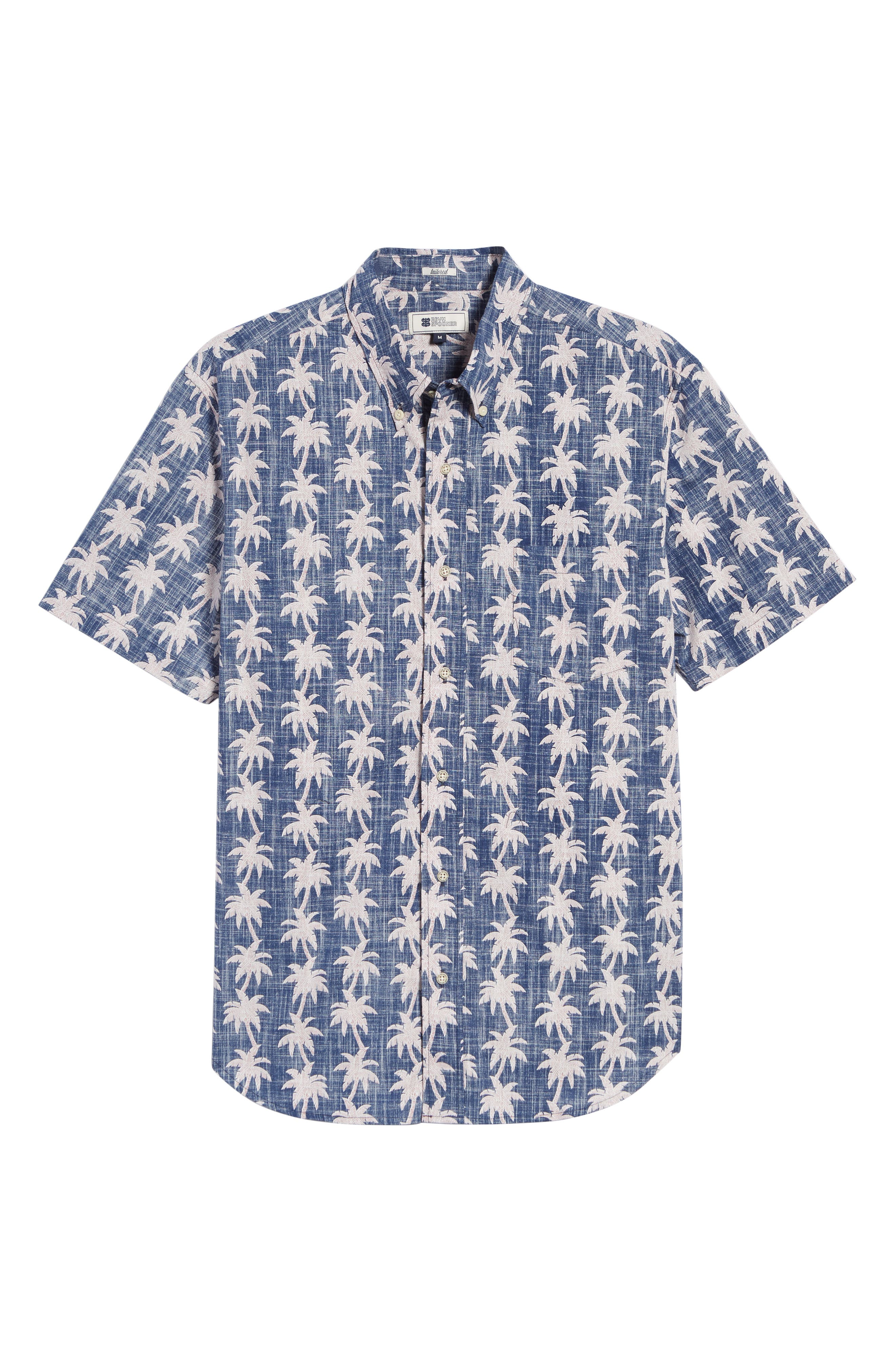 REYN SPOONER, My Maui Palm Tailored Fit Sport Shirt, Alternate thumbnail 5, color, MEDIEVAL BLUE