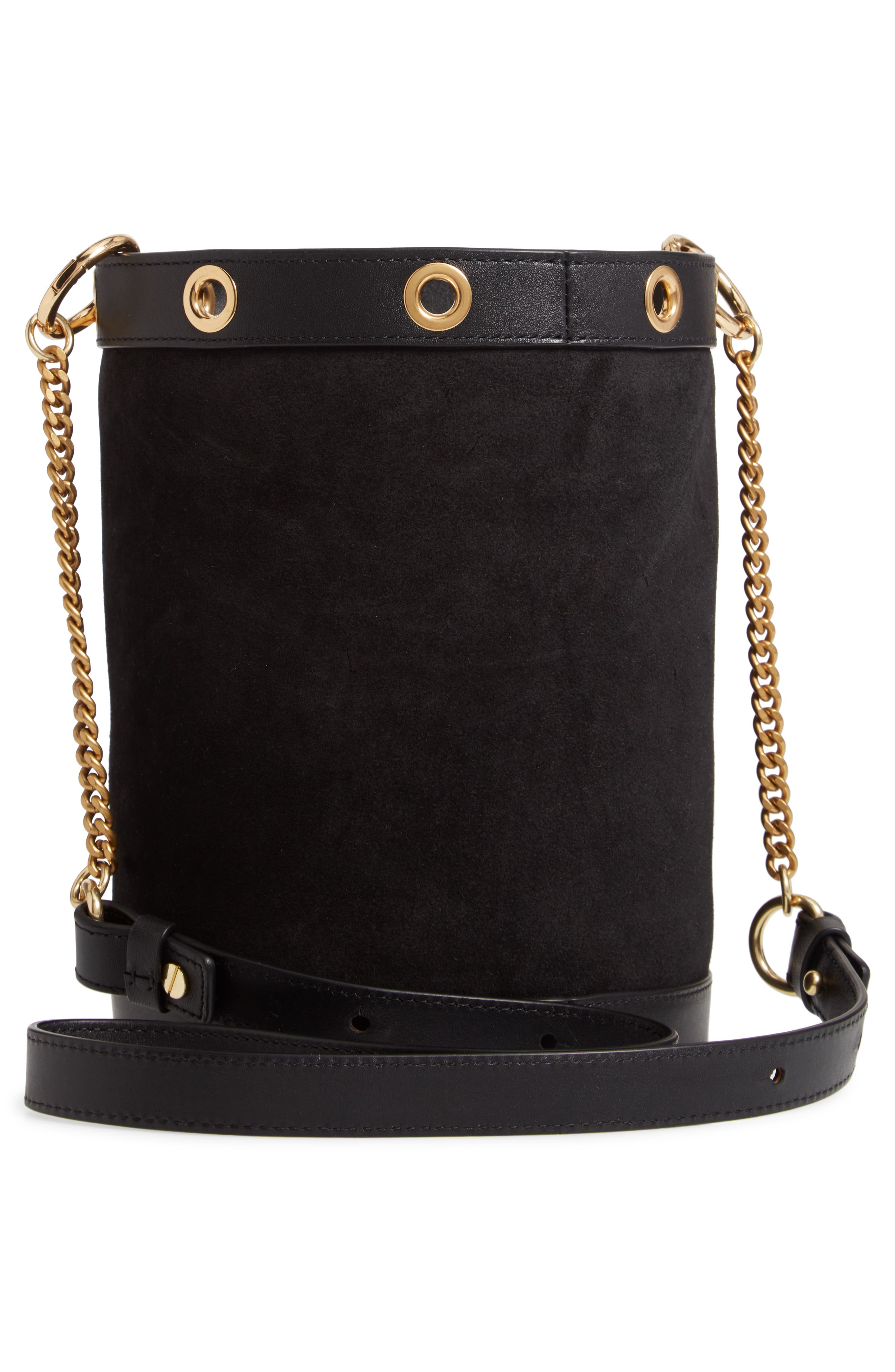 SEE BY CHLOÉ, Debbie Leather Bucket Bag, Alternate thumbnail 4, color, 001