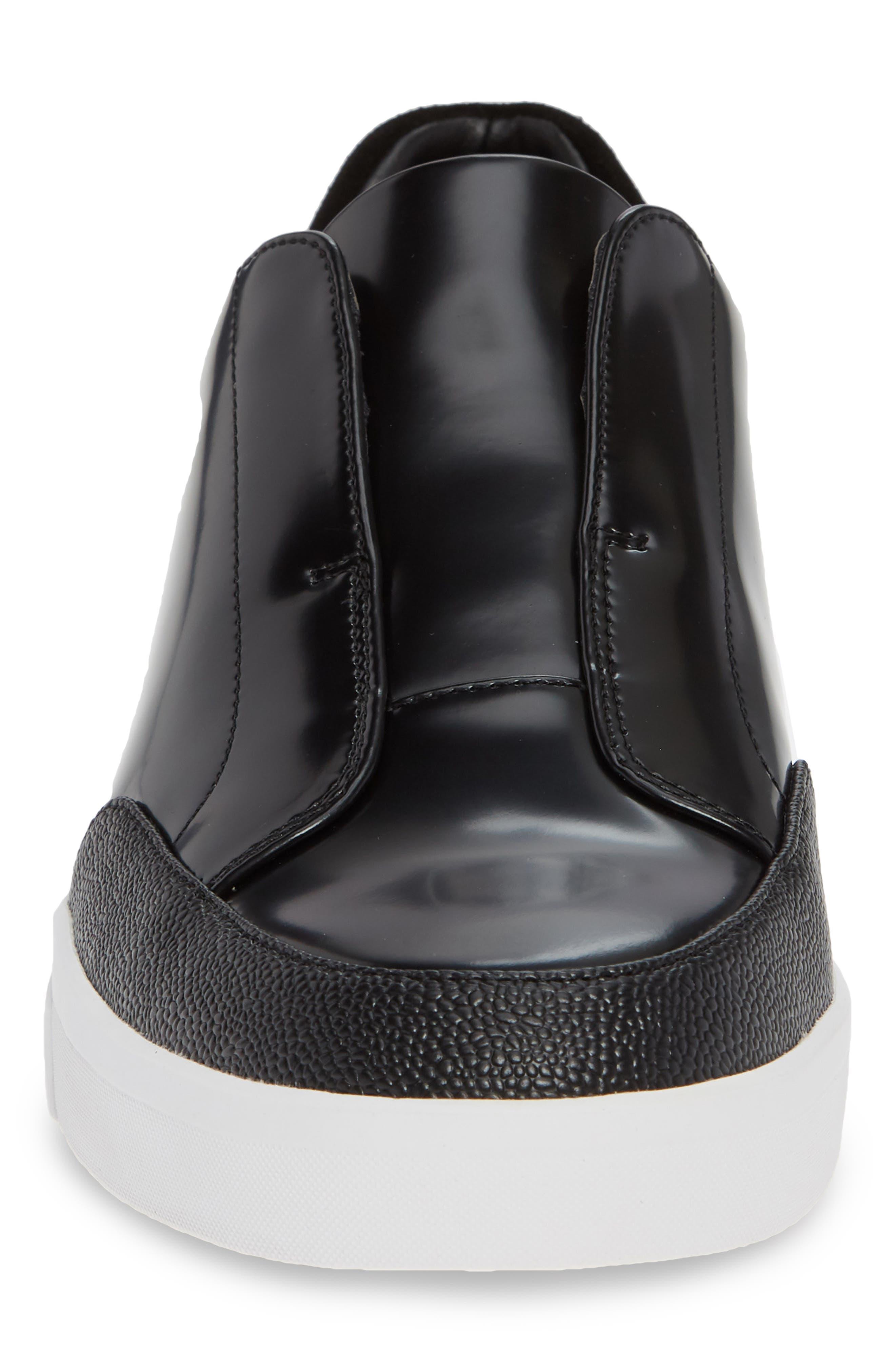 CALVIN KLEIN, Immanuel Slip-On Sneaker, Alternate thumbnail 4, color, BLACK LEATHER