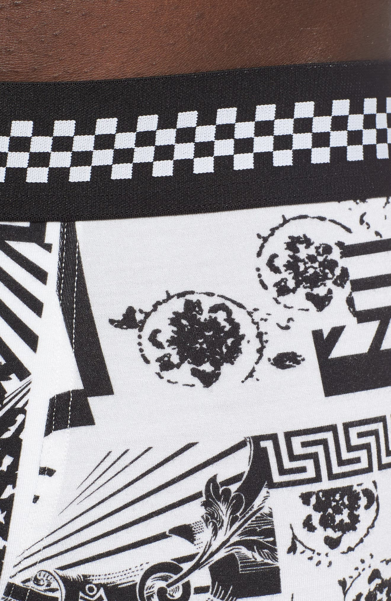 VERSACE COLLECTION, Low Rise Trunks, Alternate thumbnail 4, color, BLACK/ WHITE