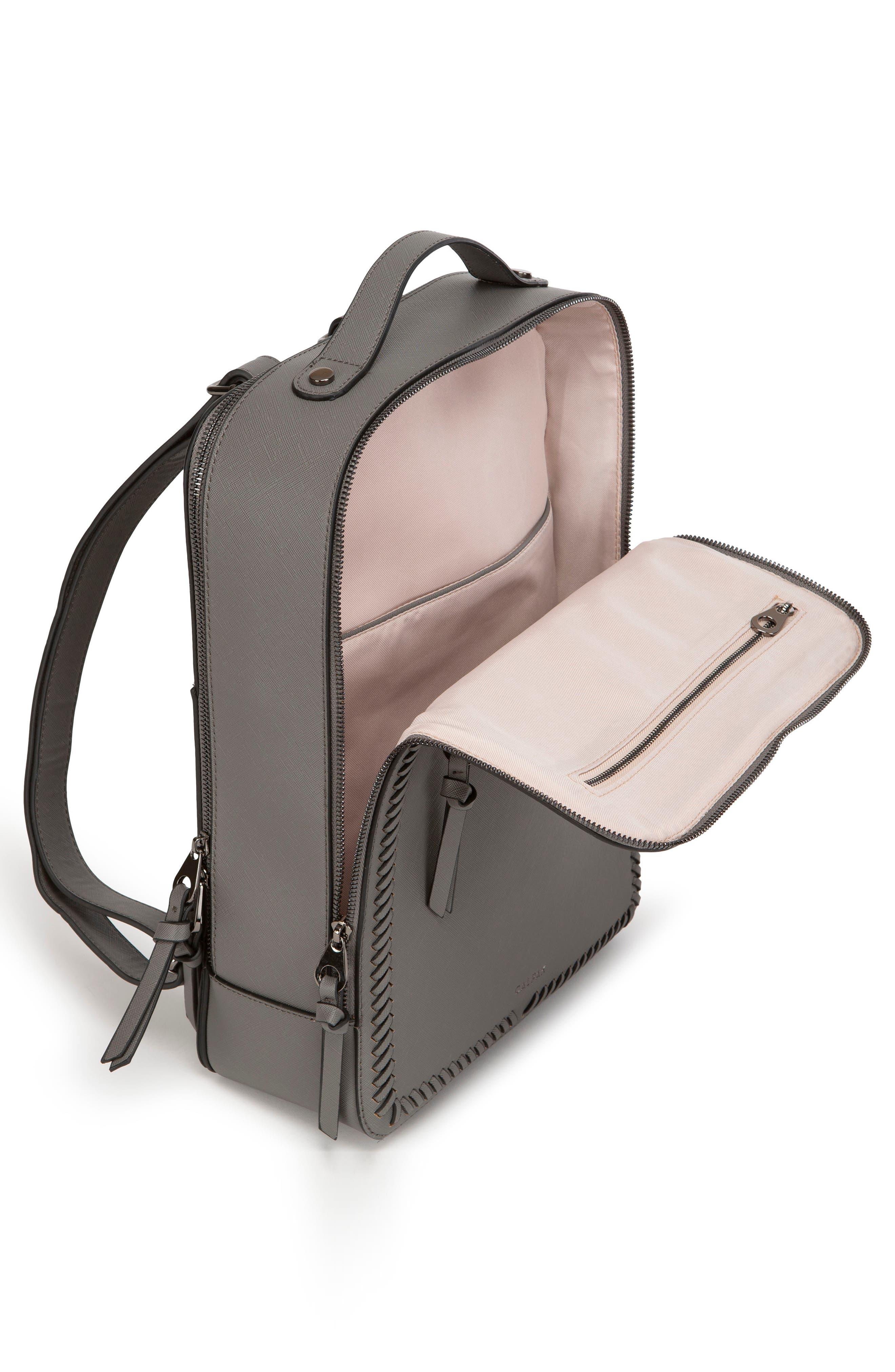 CALPAK, Kaya Faux Leather Laptop Backpack, Alternate thumbnail 3, color, CHARCOAL