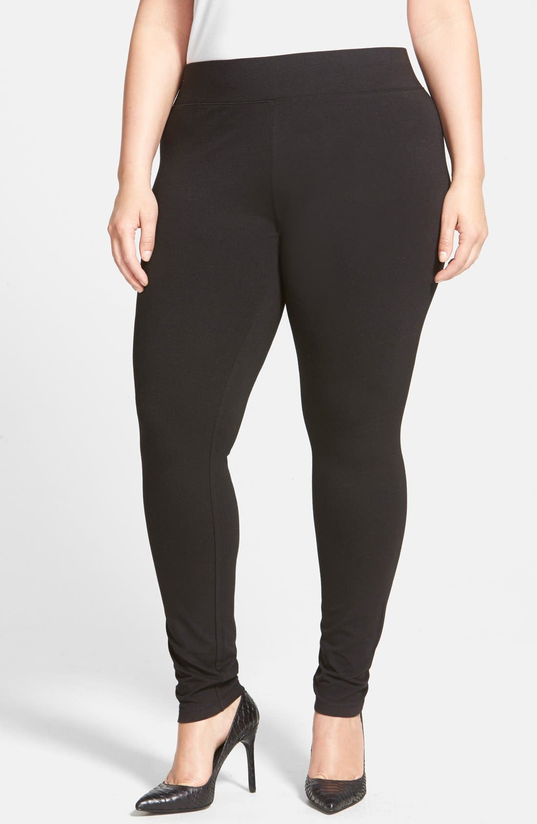 HUE, Ultra Wide Waistband Leggings, Alternate thumbnail 5, color, 001