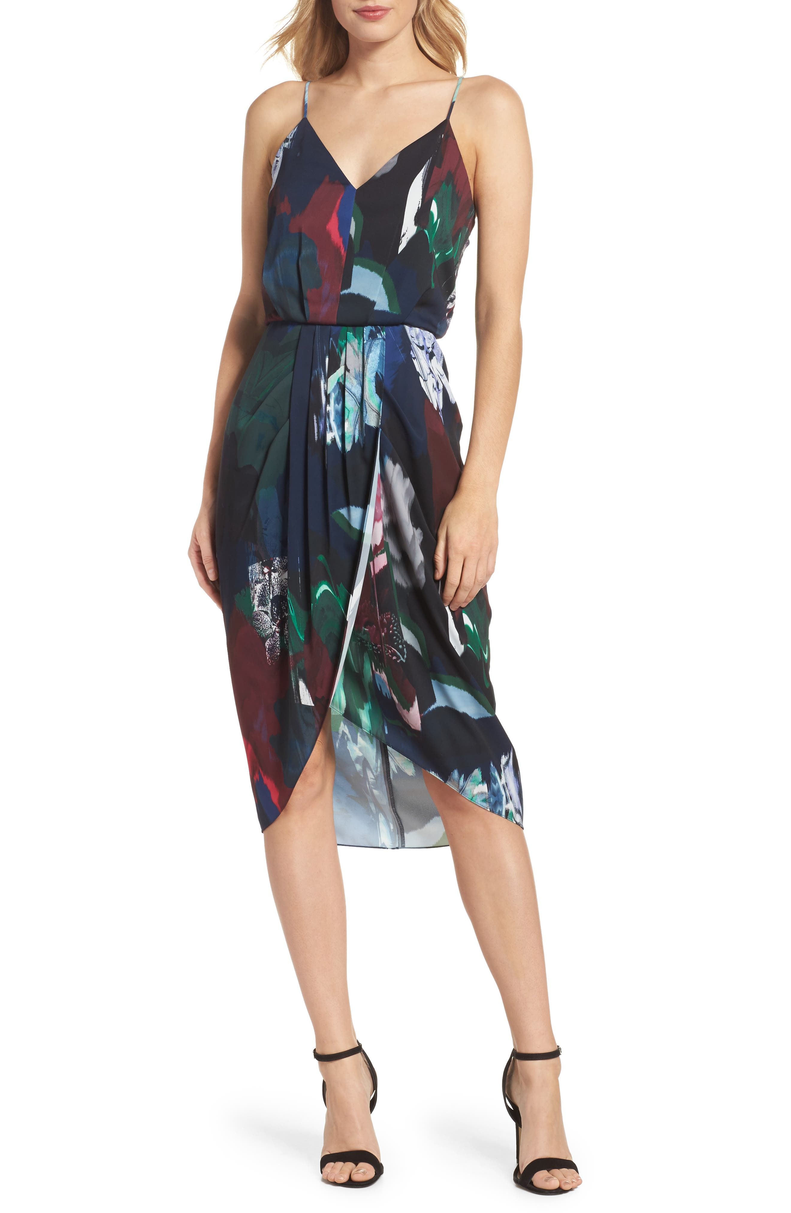 CHELSEA28, Print Faux Wrap Dress, Main thumbnail 1, color, NAVY MIXED FLORAL