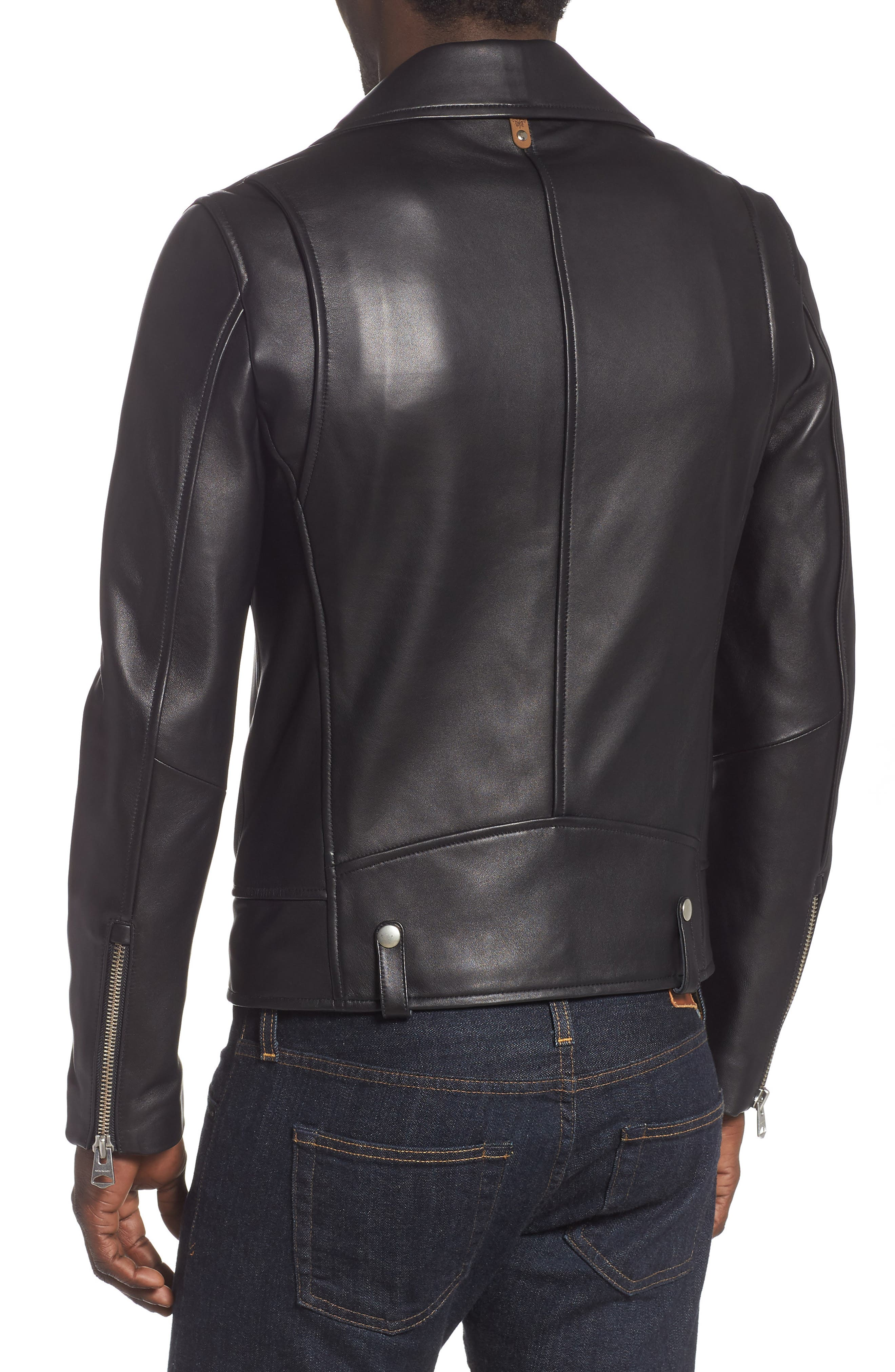 MACKAGE, Fenton Leather Moto Jacket, Alternate thumbnail 2, color, BLACK