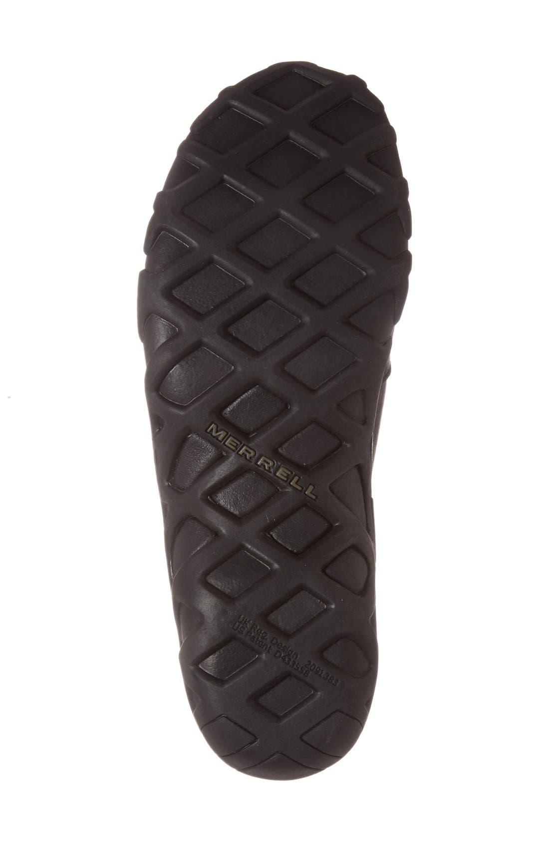 MERRELL, 'Jungle Moc' Leather Athletic Slip-On, Alternate thumbnail 5, color, BLACK