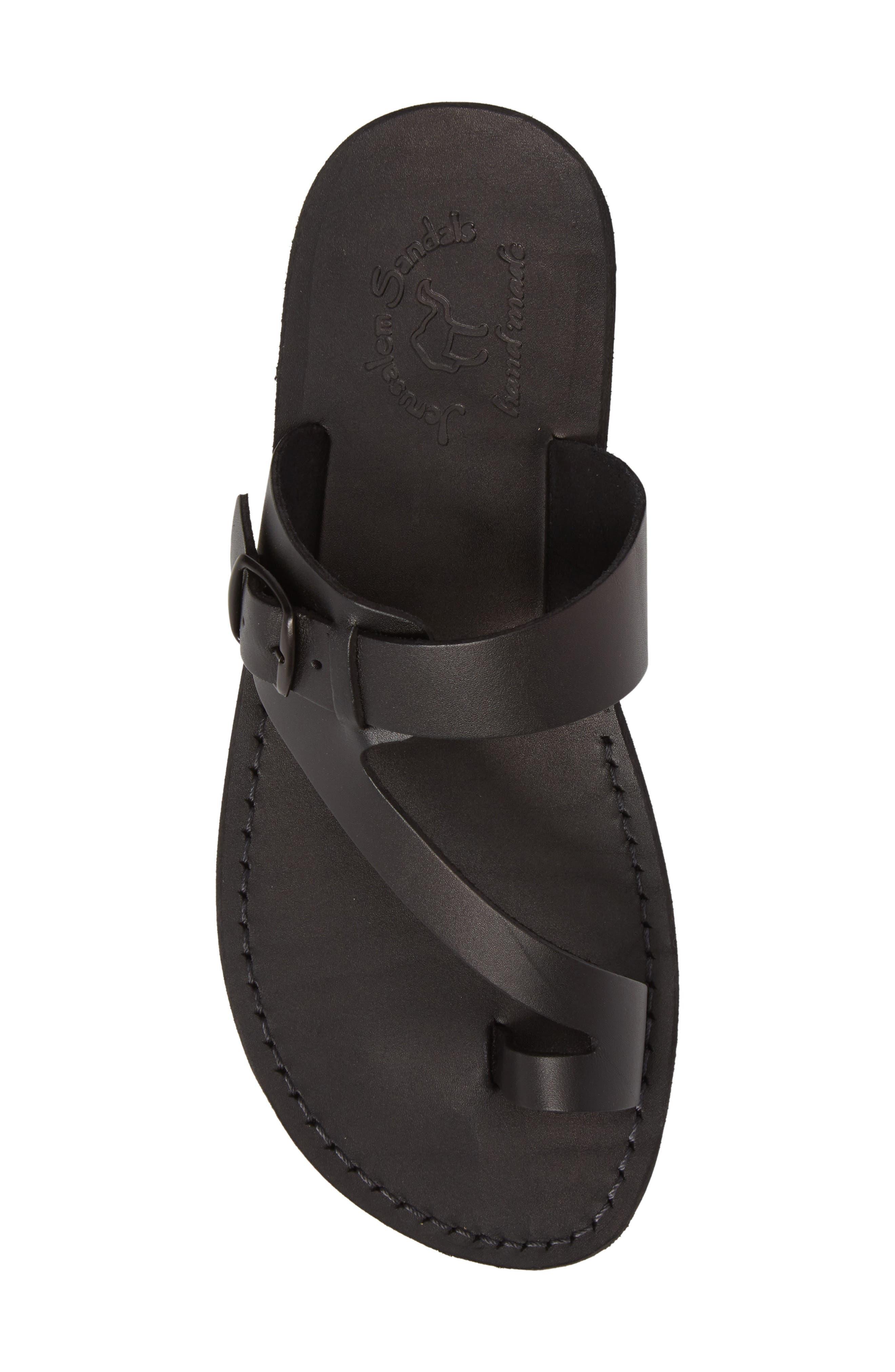 JERUSALEM SANDALS, Abner Toe Loop Sandal, Alternate thumbnail 5, color, BLACK LEATHER
