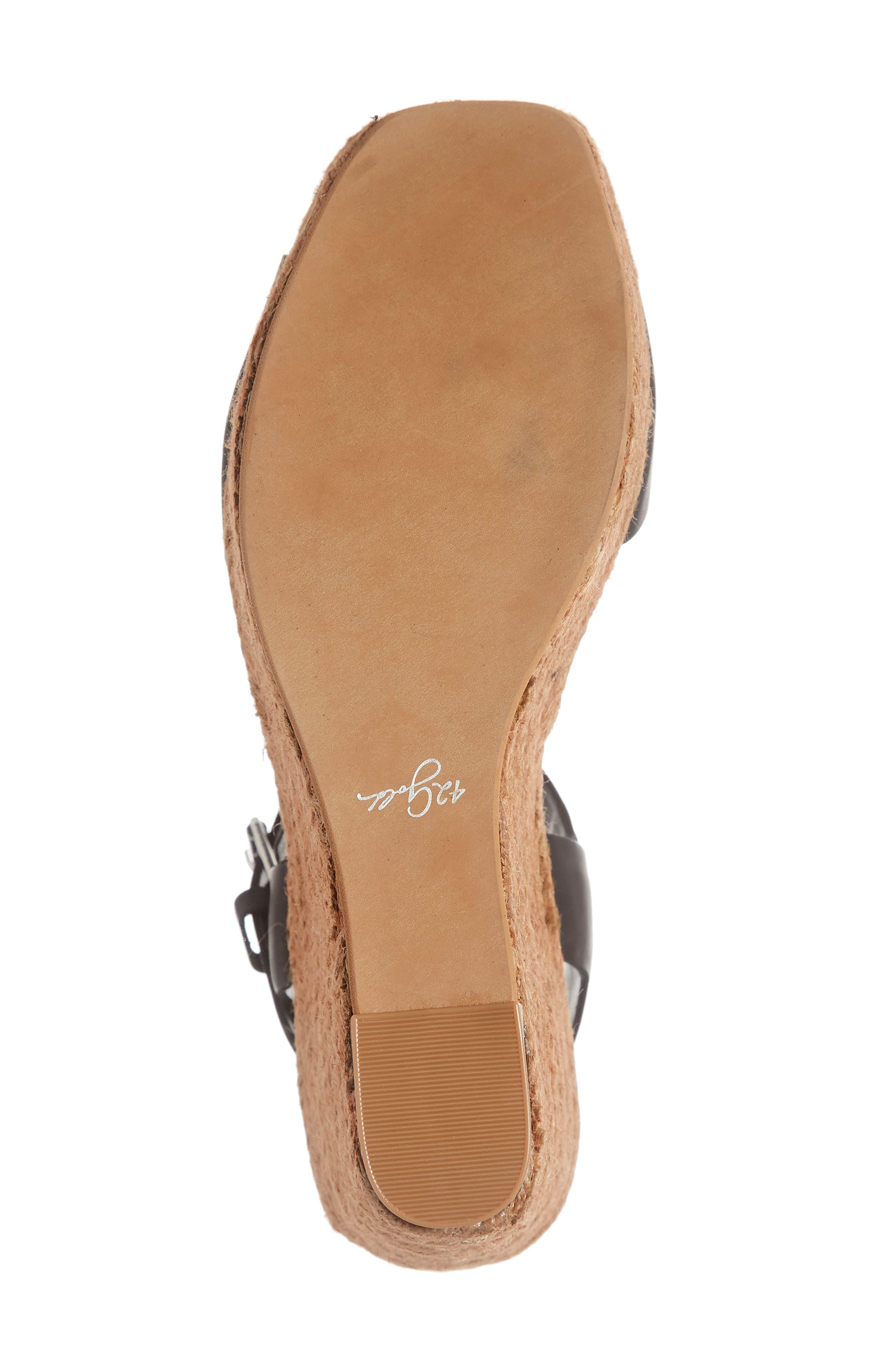 42 GOLD, Maine Platform Wedge Sandal, Alternate thumbnail 6, color, BLACK LEATHER