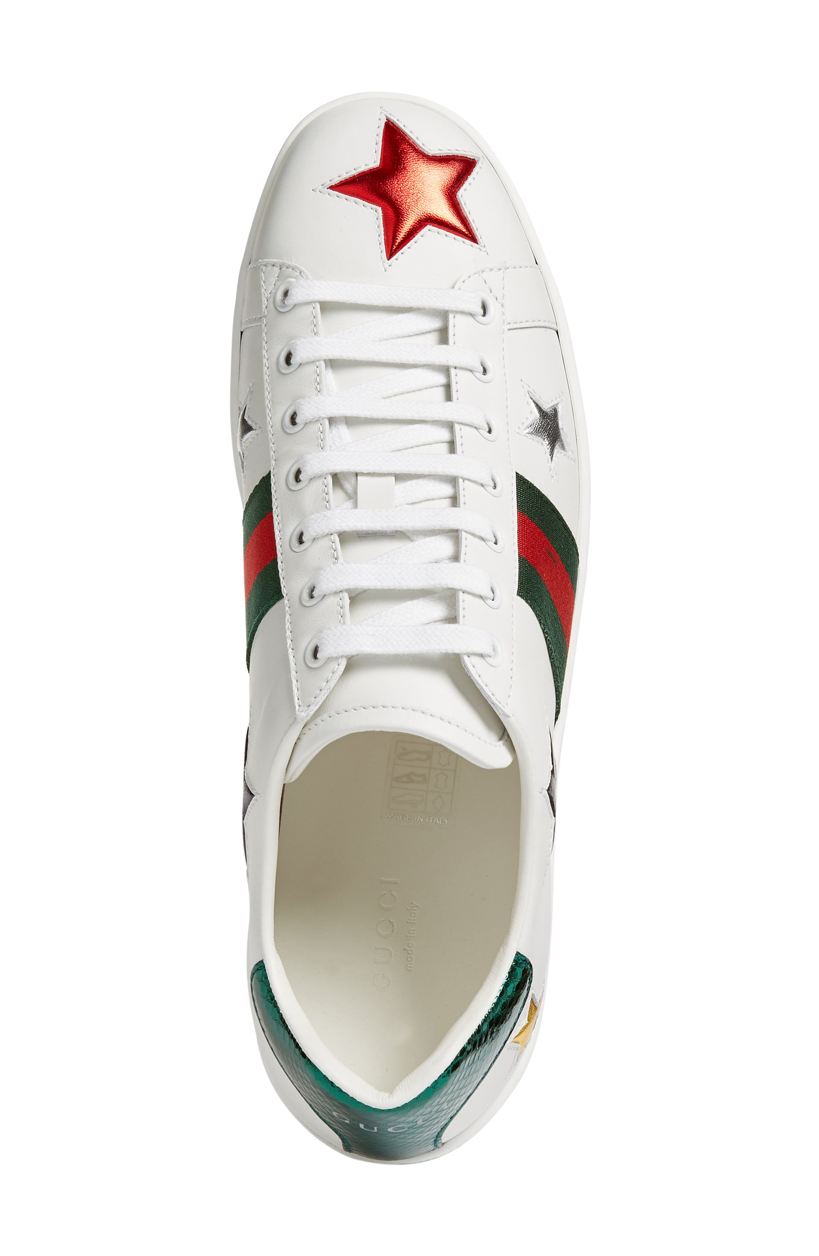 GUCCI, New Ace Star Sneaker, Alternate thumbnail 4, color, WHITE MULTI