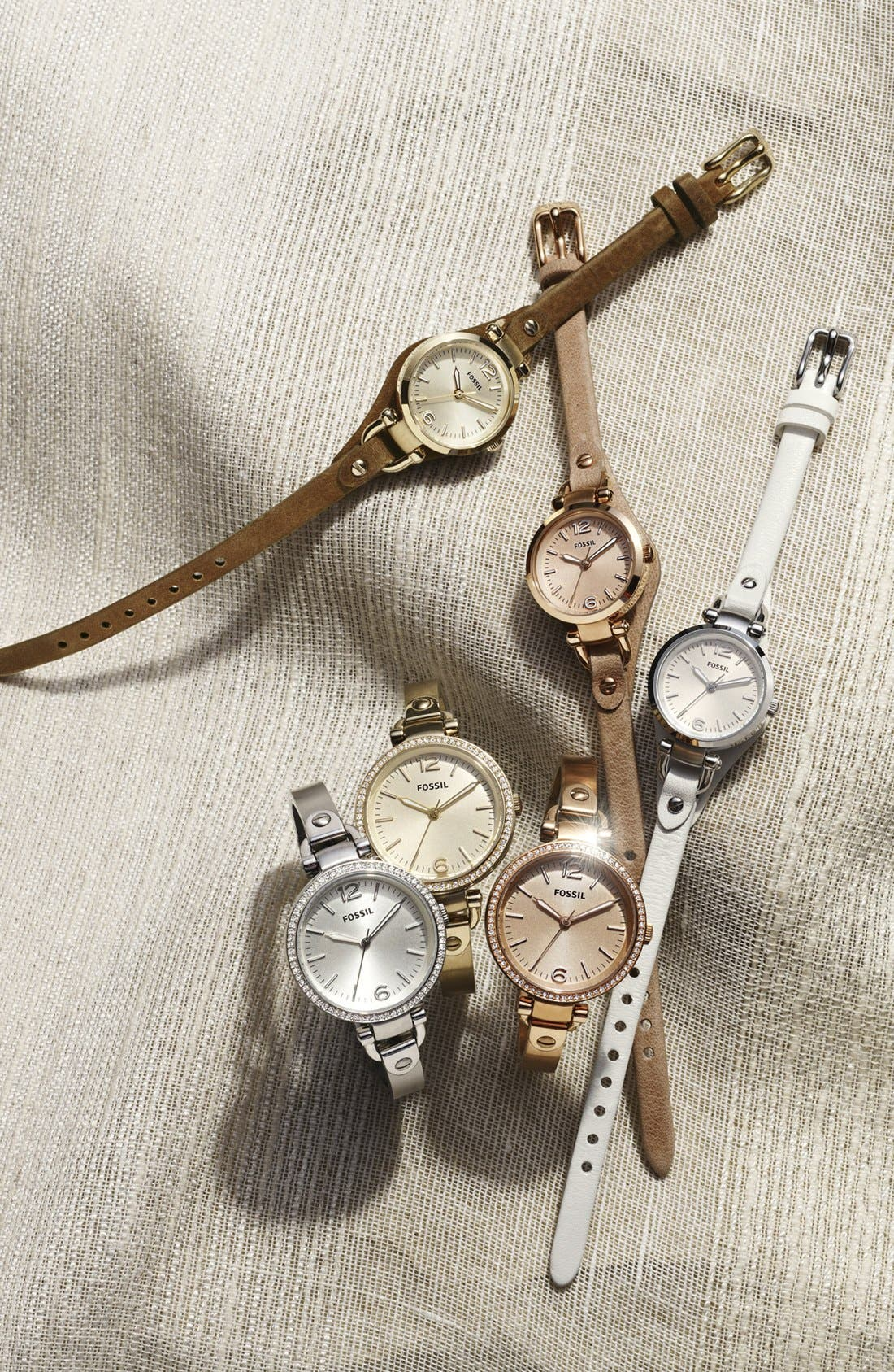 FOSSIL, 'Georgia' Crystal Bezel Watch, 32mm, Alternate thumbnail 2, color, ROSE GOLD