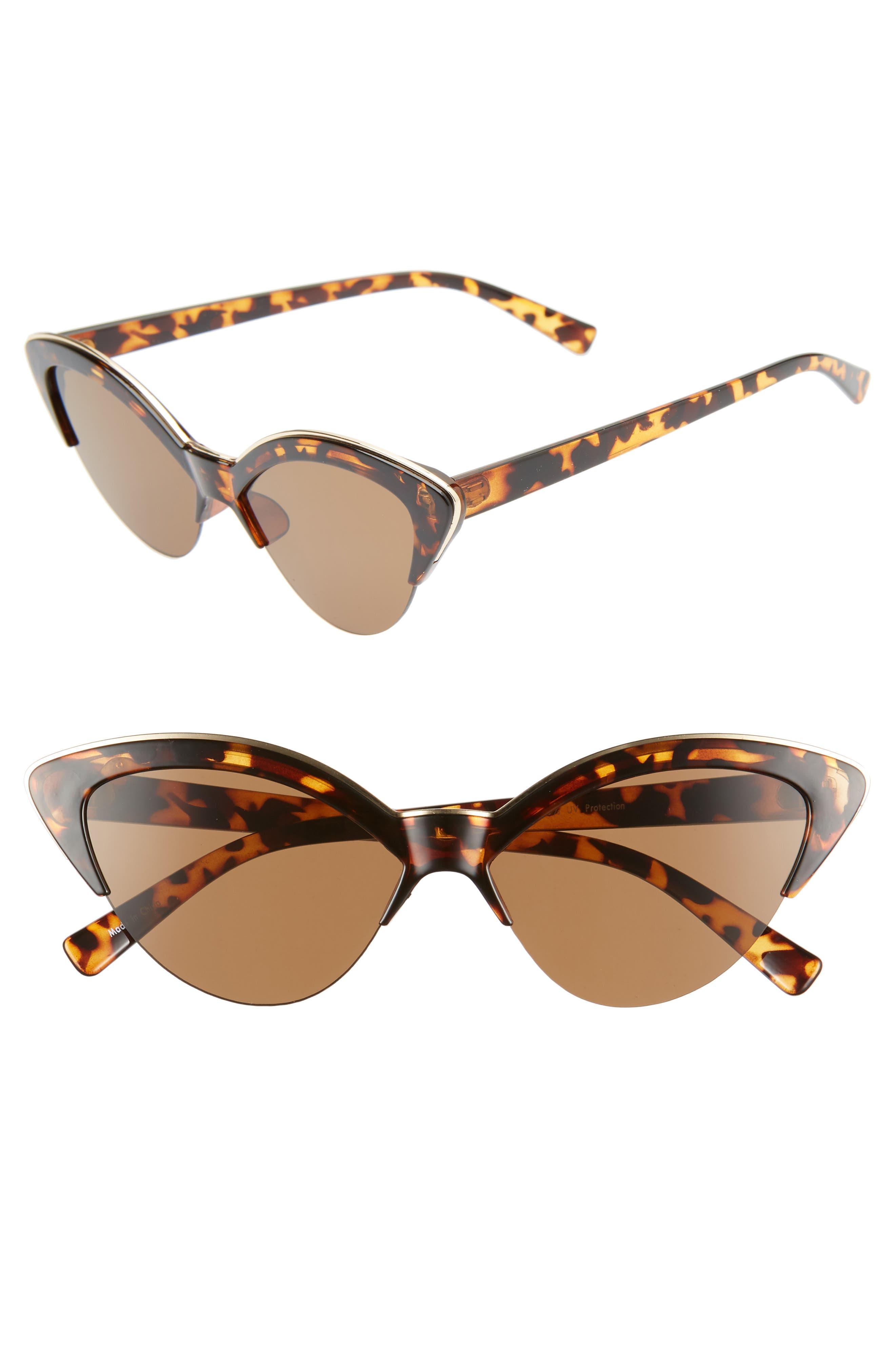 BP. Leith 54mm Metal Trim Cat Eye Sunglasses, Main, color, TORT