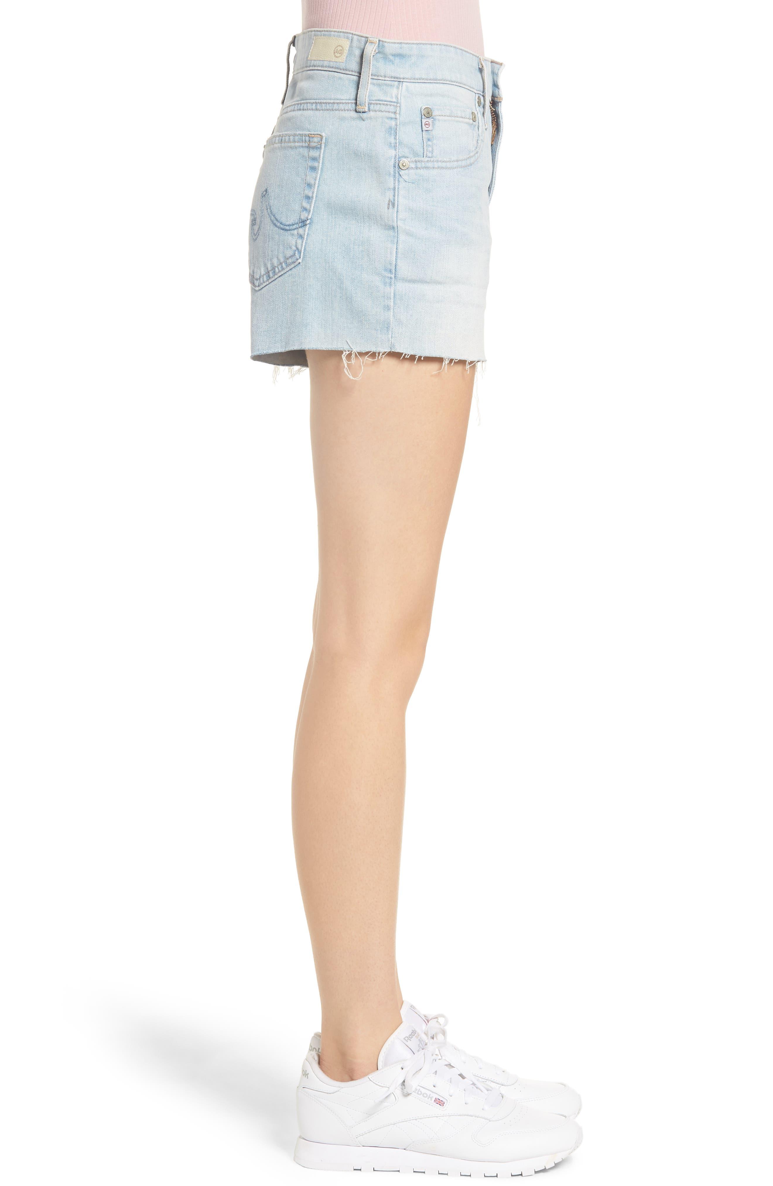 AG, The Bryn High Waist Cutoff Denim Shorts, Alternate thumbnail 4, color, 28Y ALTERED
