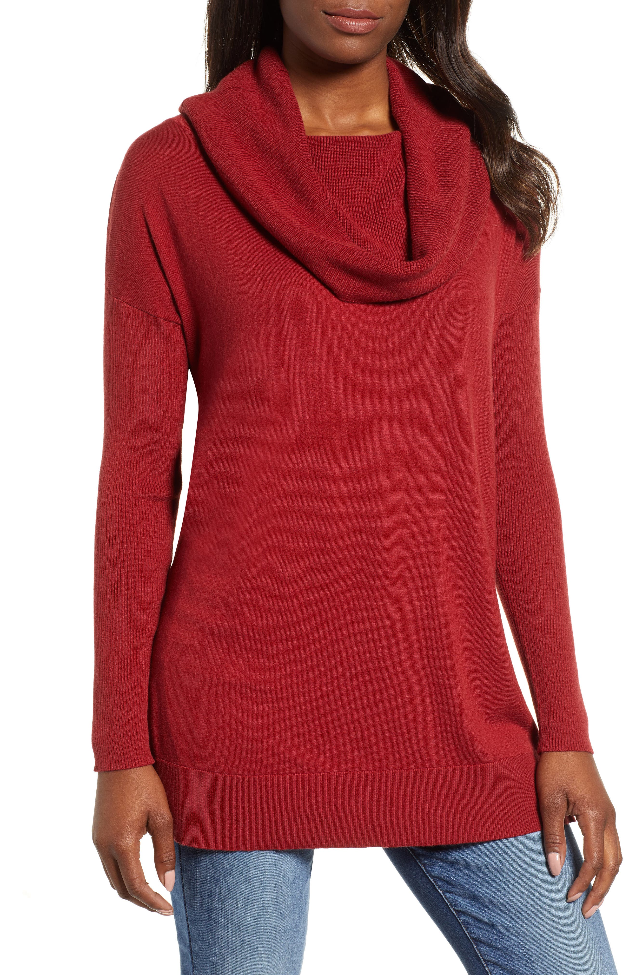 CASLON<SUP>®</SUP>, Side Slit Convertible Cowl Neck Tunic, Main thumbnail 1, color, RED SUN